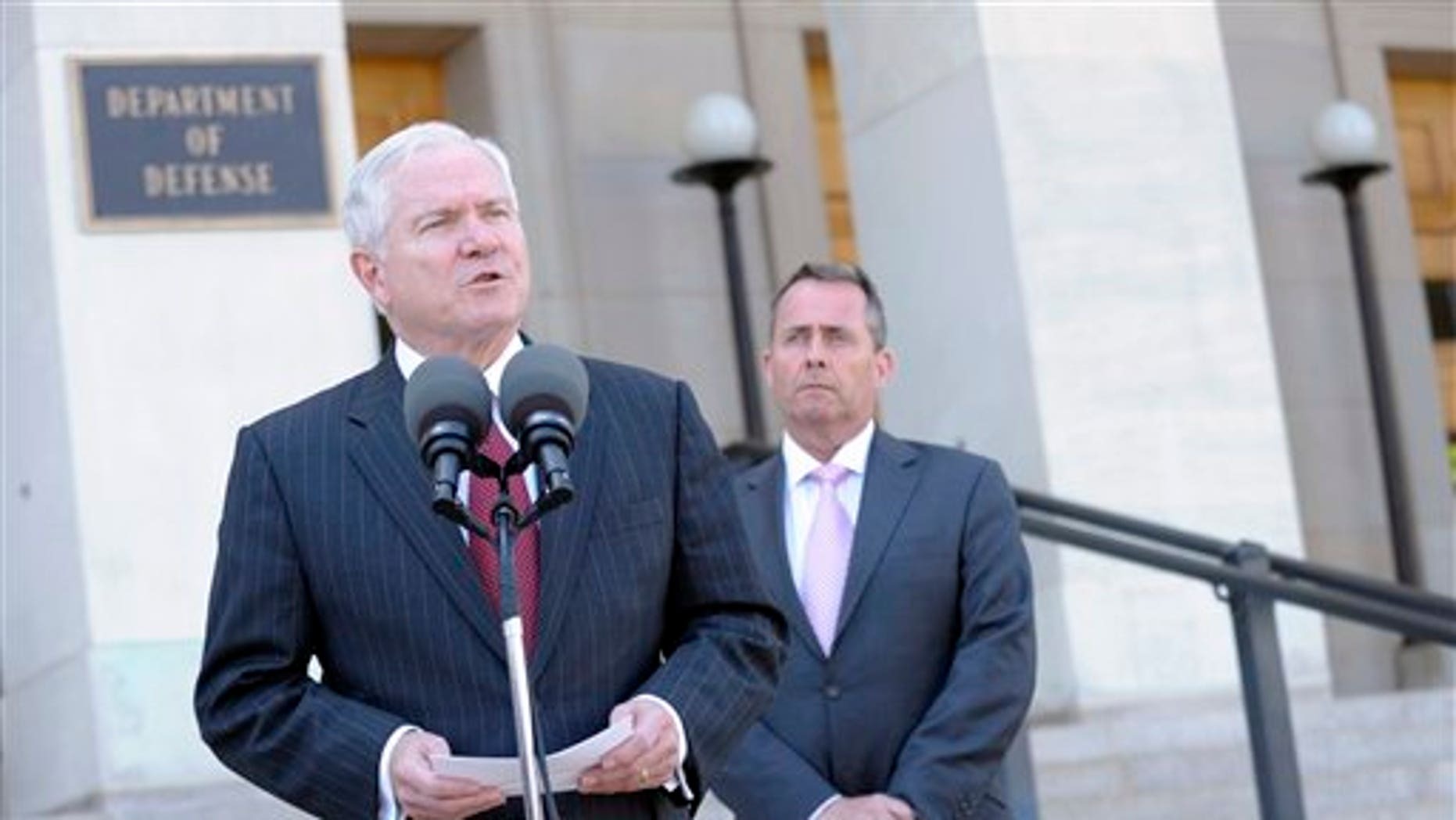 April 26: Defense Secretary Robert Gates, accompanied by British Defense Minister Liam Fox, speaks during joint statement at the Pentagon. (AP)
