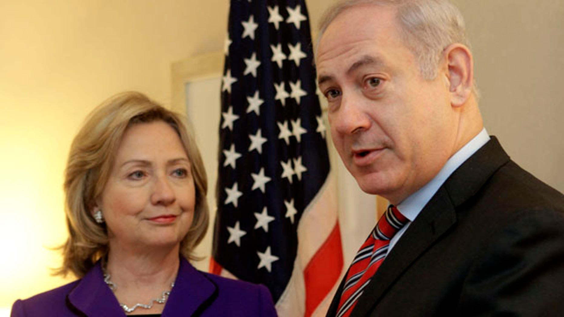 Nov. 11: U.S. Secretary of State Hillary Rodham Clinton, left, listens as Israeli Prime Minister Benjamin Netanyahu speaks to reporters during a meeting in New York.