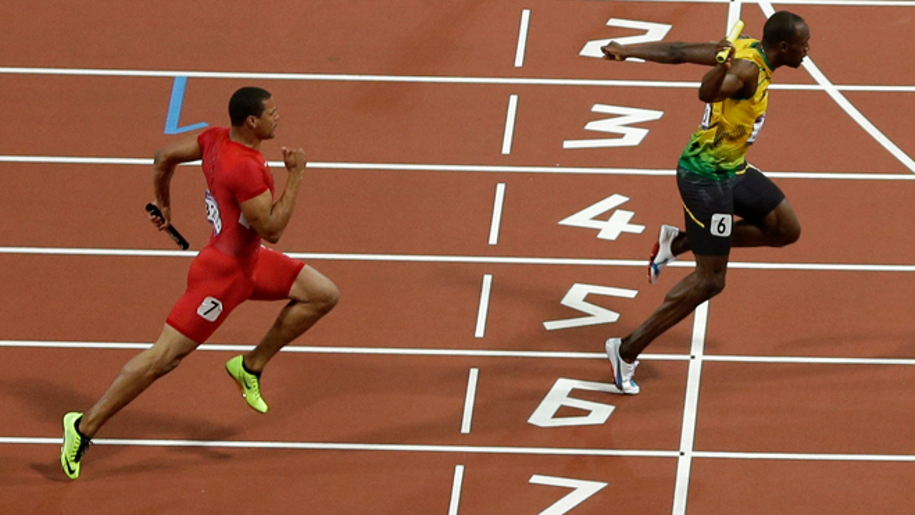 Aug. 11, 2012: Jamaica's Usain Bolt crosses the finish line ahead of United States' Ryan Bailey to win the men's 4x100 relay at the London Olympics.