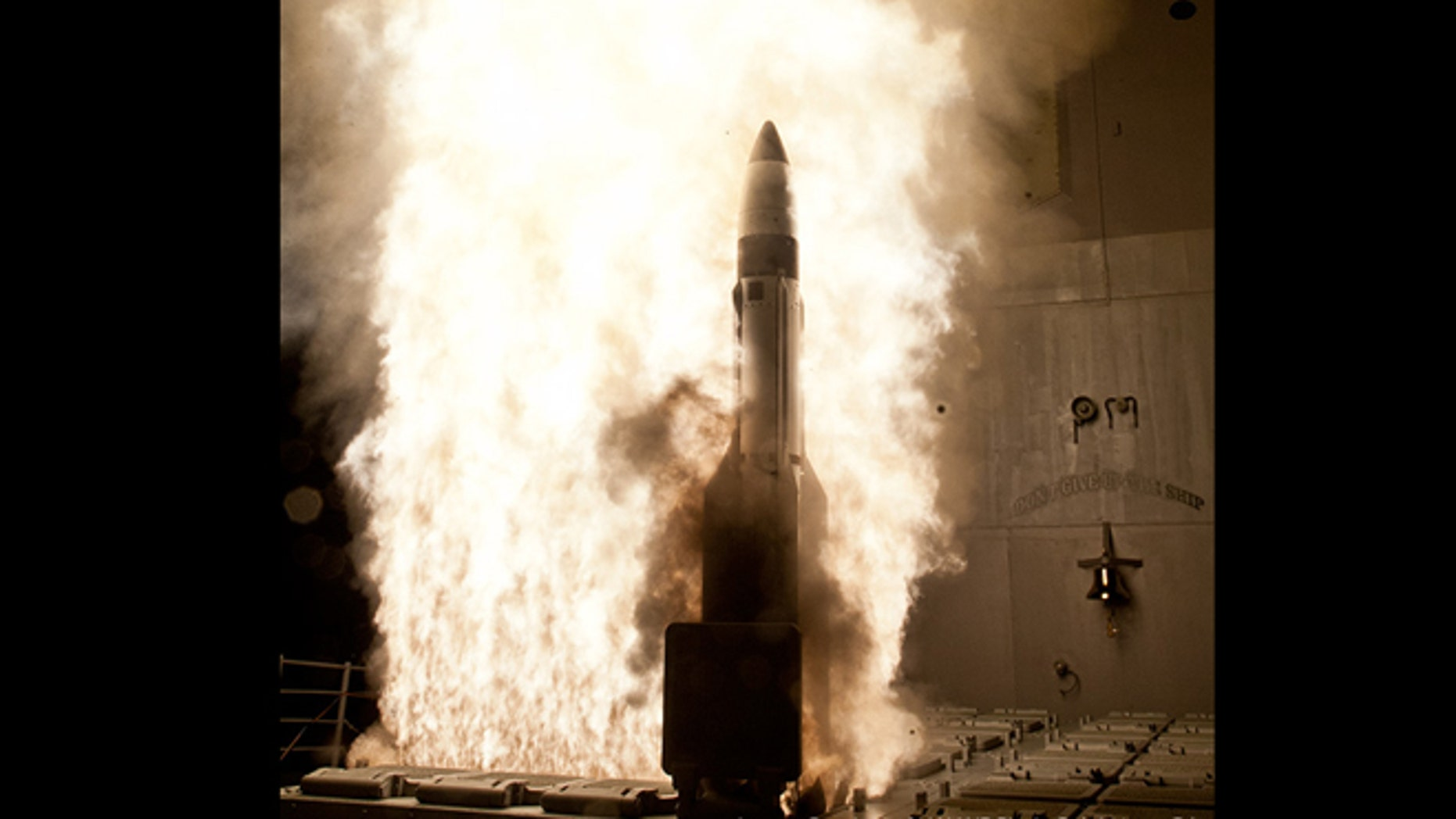 May 9, 2012: A Standard Missile - 3 (SM-3) Block 1B interceptor is launched from the guided-missile cruiser USS Lake Erie (CG 70) during a Missile Defense Agency test in the Pacific Ocean.