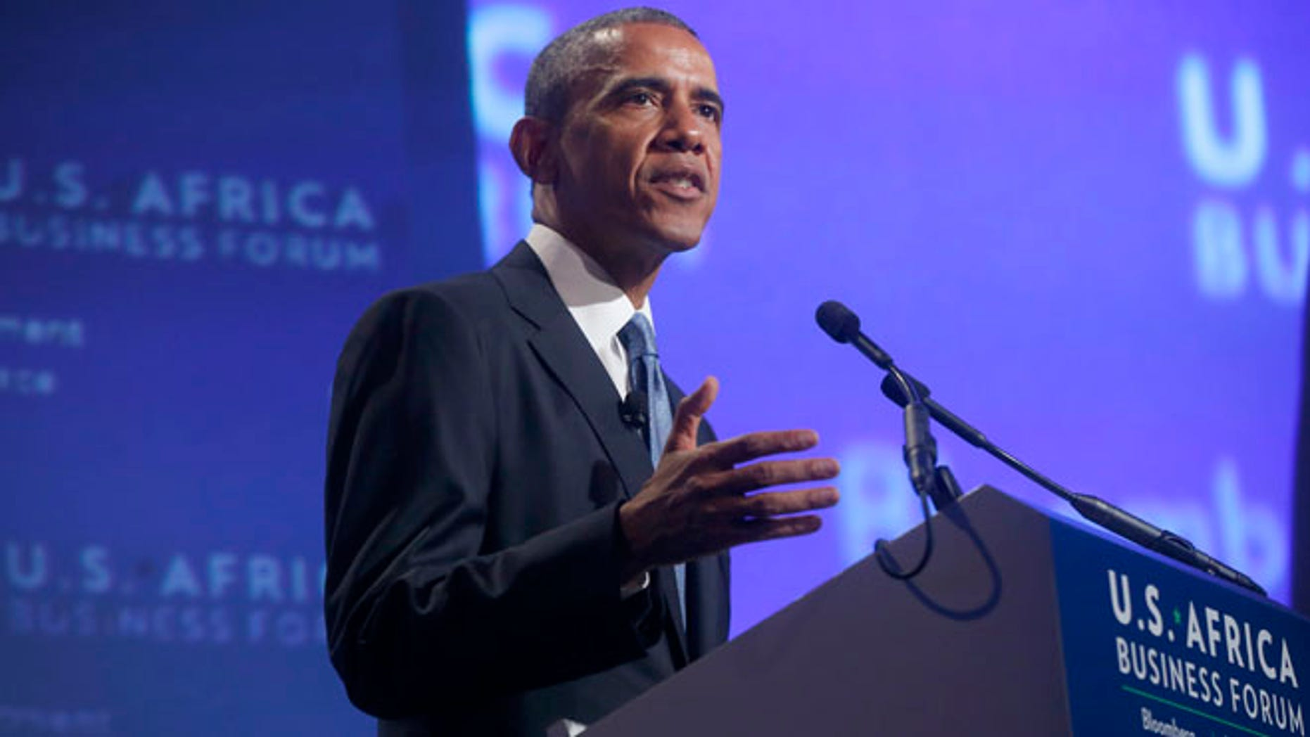 President Barack Obama speaks at the US Africa Business Forum during the US Africa Leaders Summit, Tuesday, Aug. 5, 2014, at the Mandarin Oriental Hotel in Washington.
