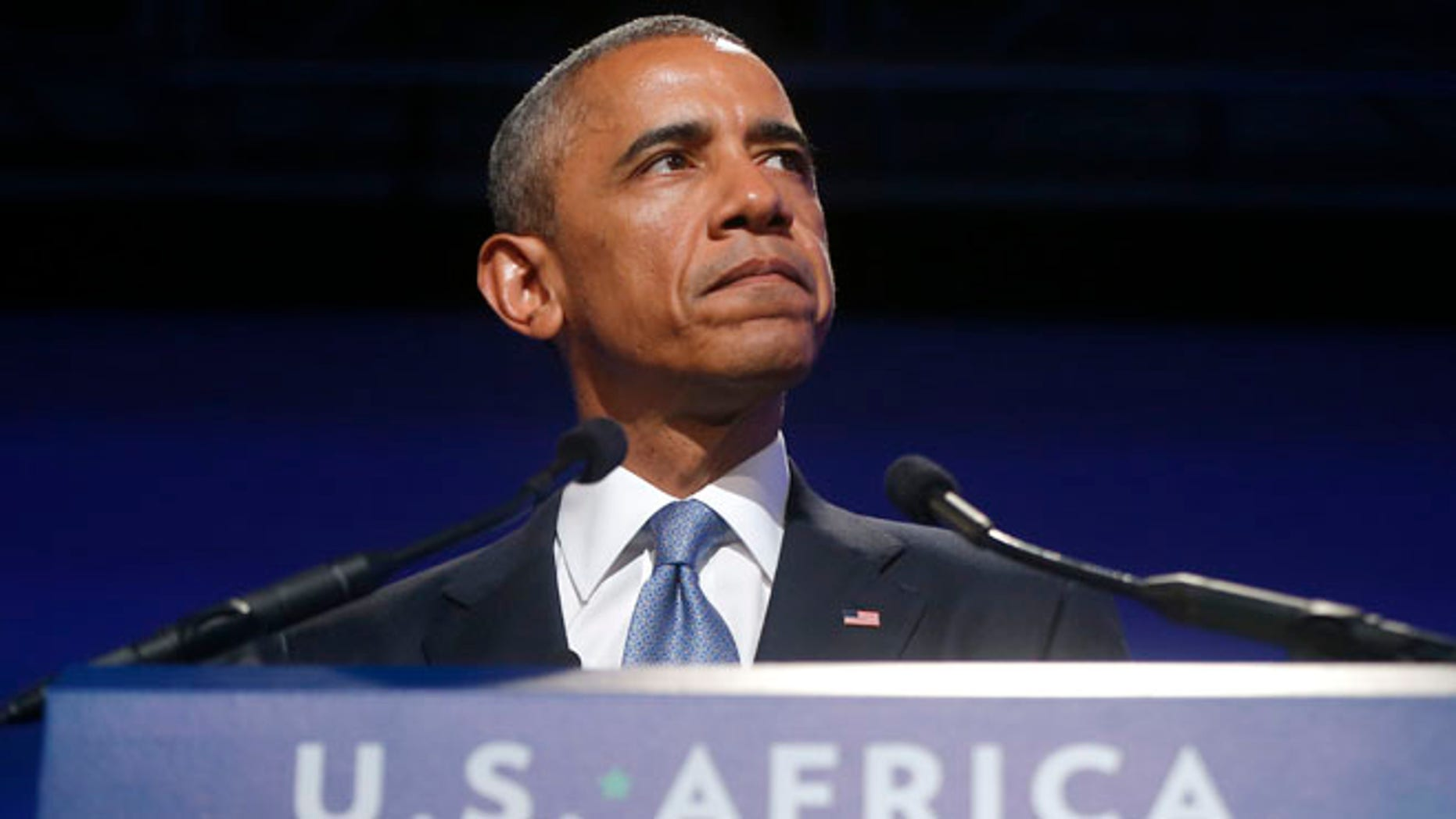 President Barack Obamaspeaks at the US Africa Business Forum during the US Africa Leaders Summit, Tuesday, Aug. 5, 2014, at the Mandarin Oriental Hotel in Washington.
