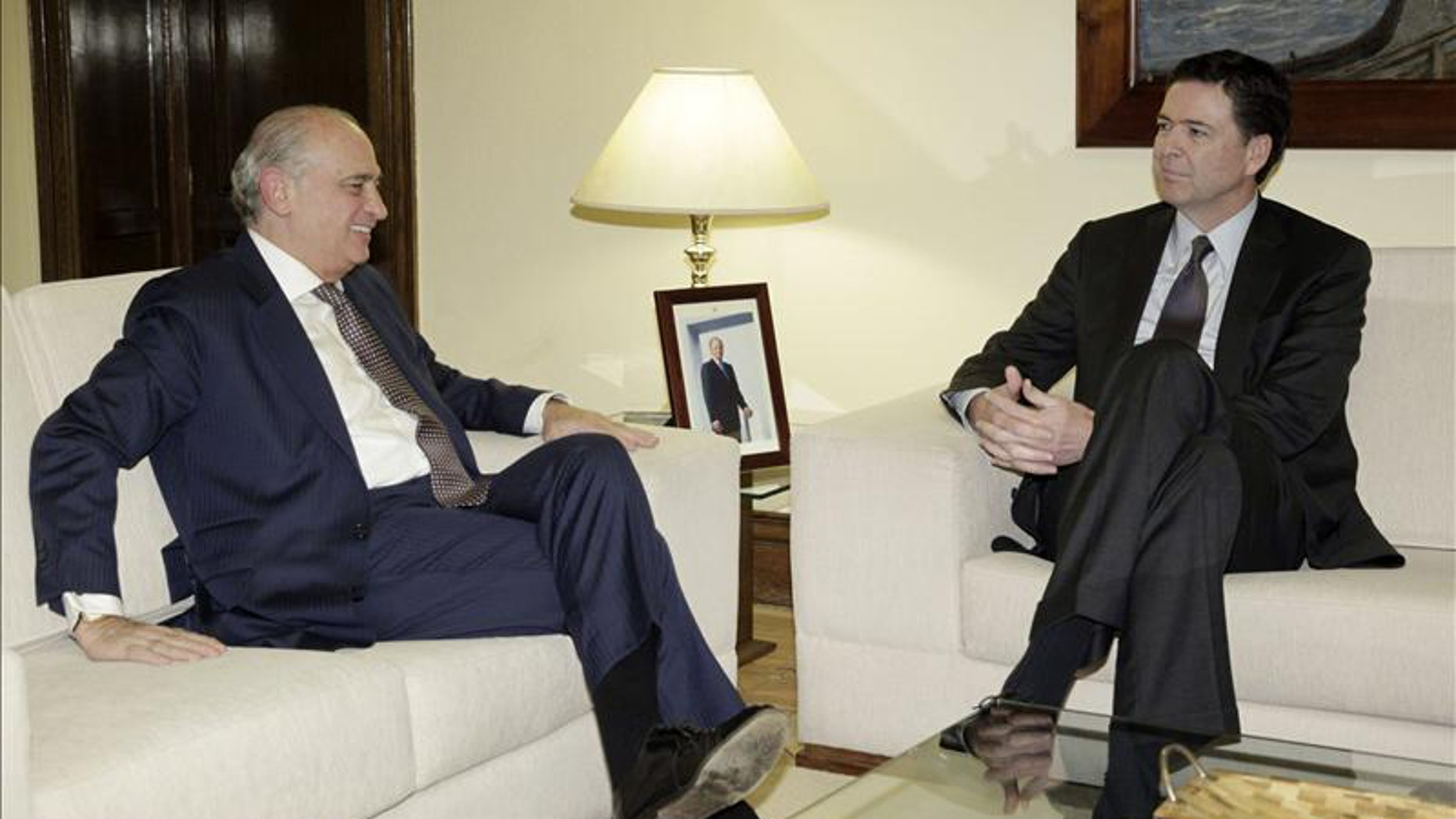 Spanish Interior Minister Jorge Fernandez Diaz and FBI Director James B. Comey at the Interior Ministry in Madrid.