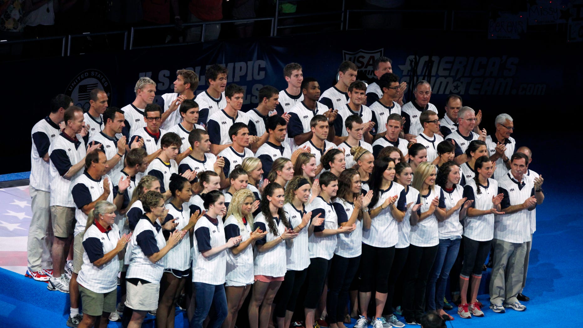 July 2, 2012: The U.S. Olympic swim team is introduced during the closing ceremony of the U.S. Olympic swimming trials.