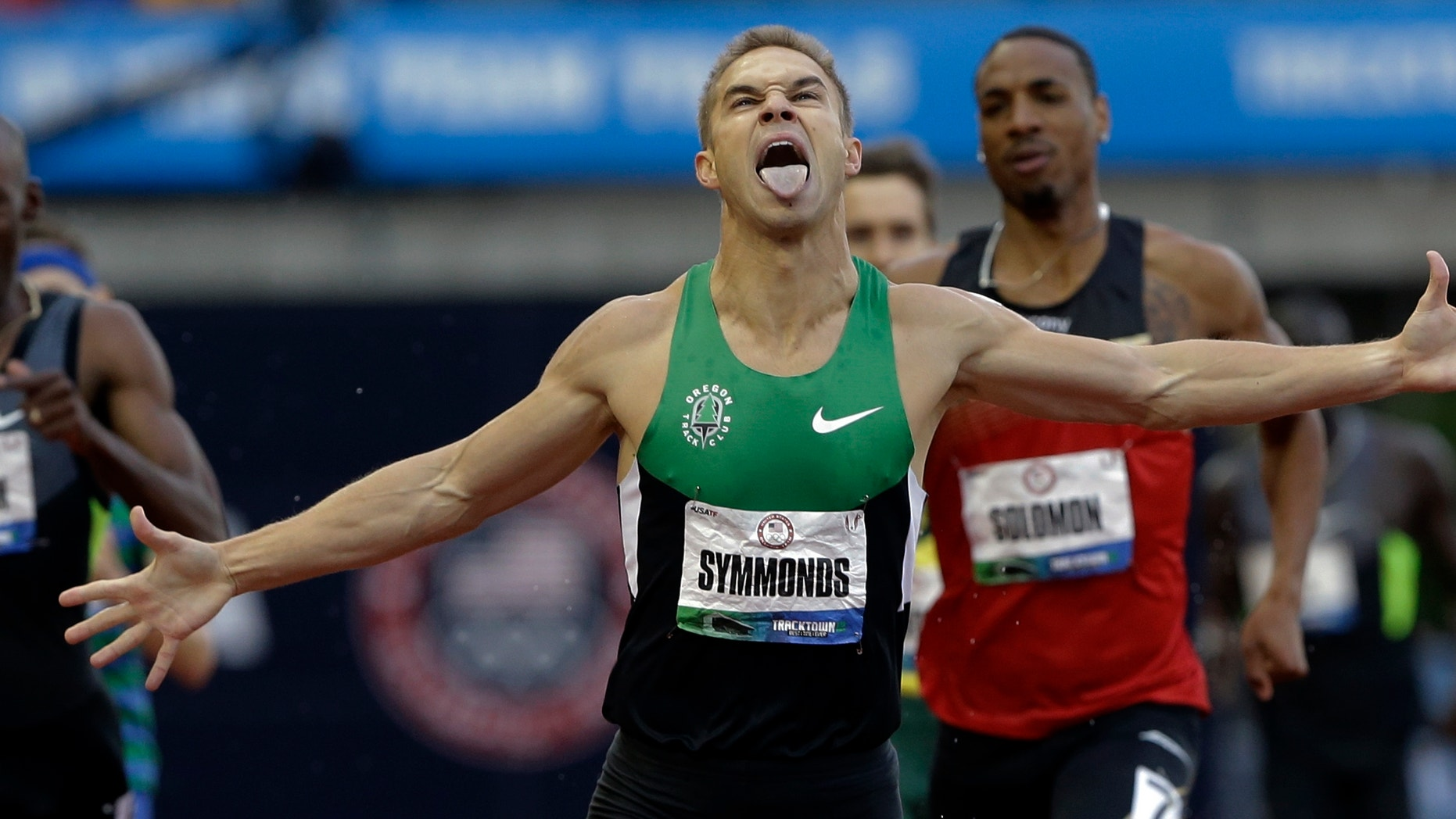 June 25, 2012: Nicholas Symmonds reacts after winning the men's 800m finals at the U.S. Olympic Track and Field Trials in Eugene, Ore