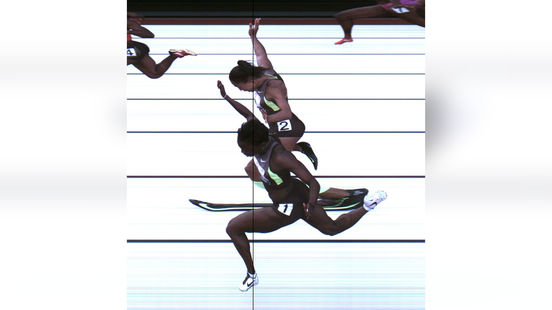 This Saturday, June 23, 2012, photo provided by USA Track & Field shows the third-place finish of the women's 100-meter final from a photo-finish camera, shot at 3,000-frames-per-second, during the U.S. Olympic Track and Field Trials in Eugene, Ore.