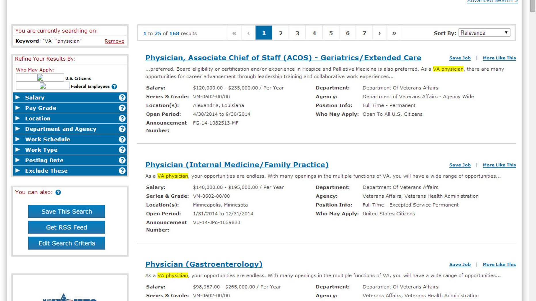 Screen grab of the federal USAJobs listing for Friday, May 23, 2014.