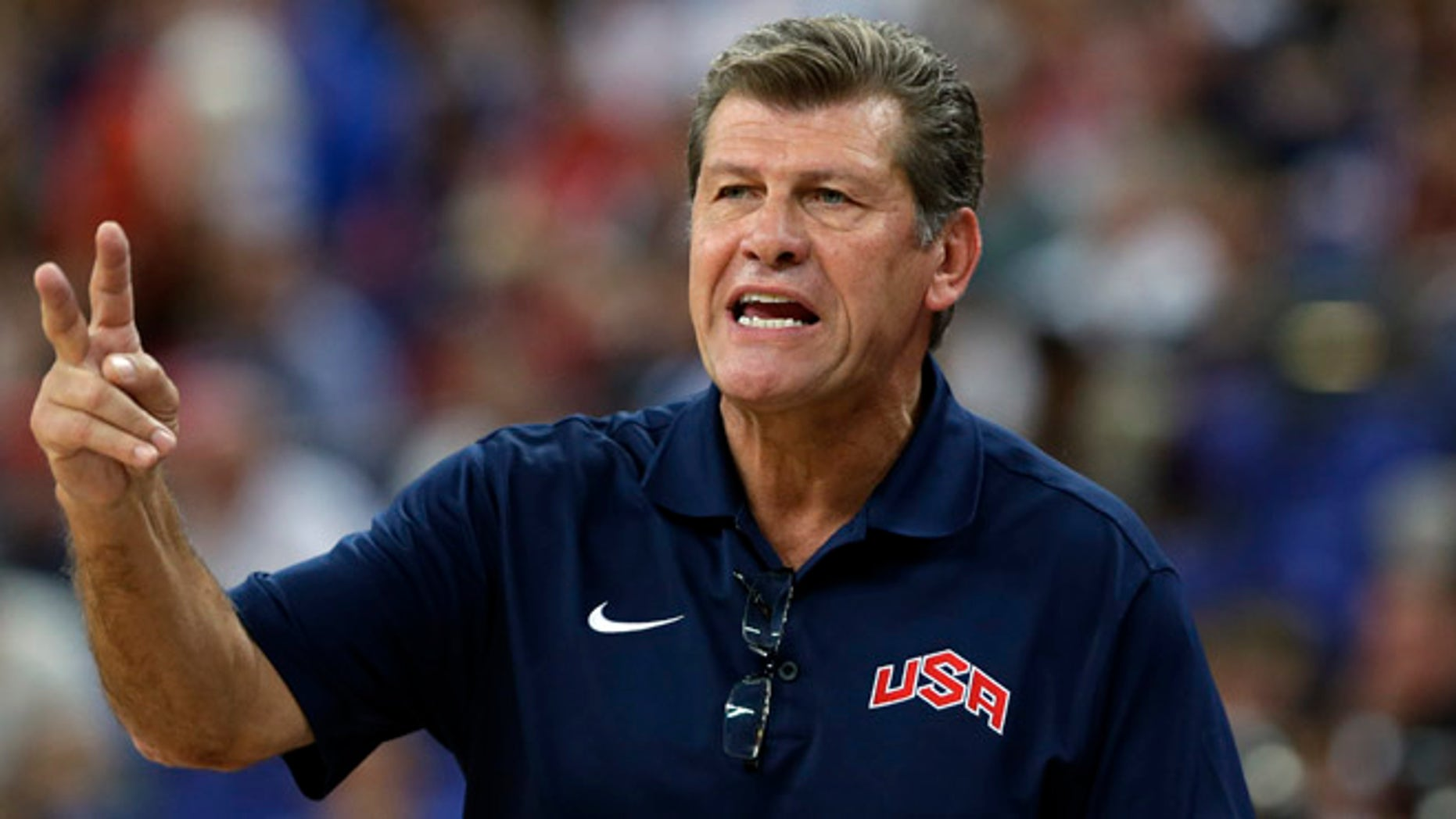 Aug. 11, 2012: United States coach Geno Auriemma talks to his players during a women's gold medal basketball game against France at the 2012 Summer Olympics, in London.