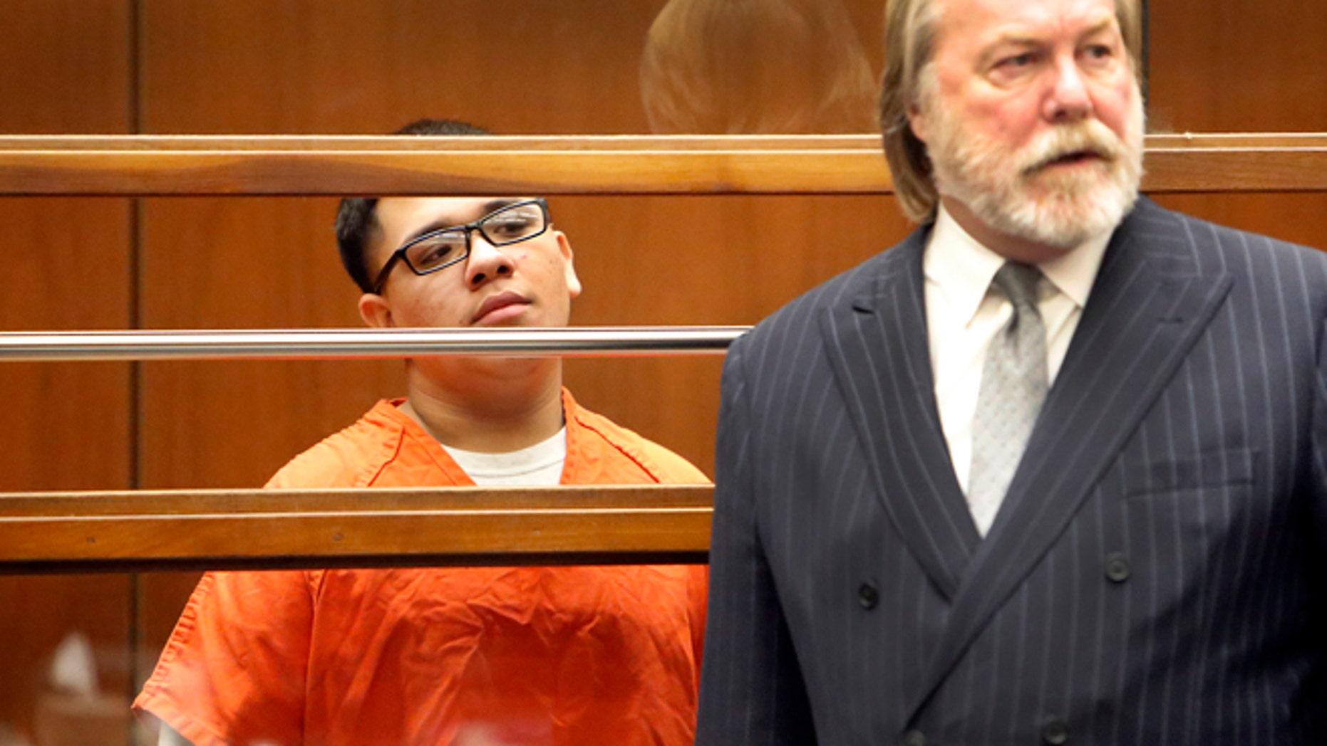 Alberto Ochoa in Los Angeles Superior Court Monday, Jan. 12, 2015 with his attorney.