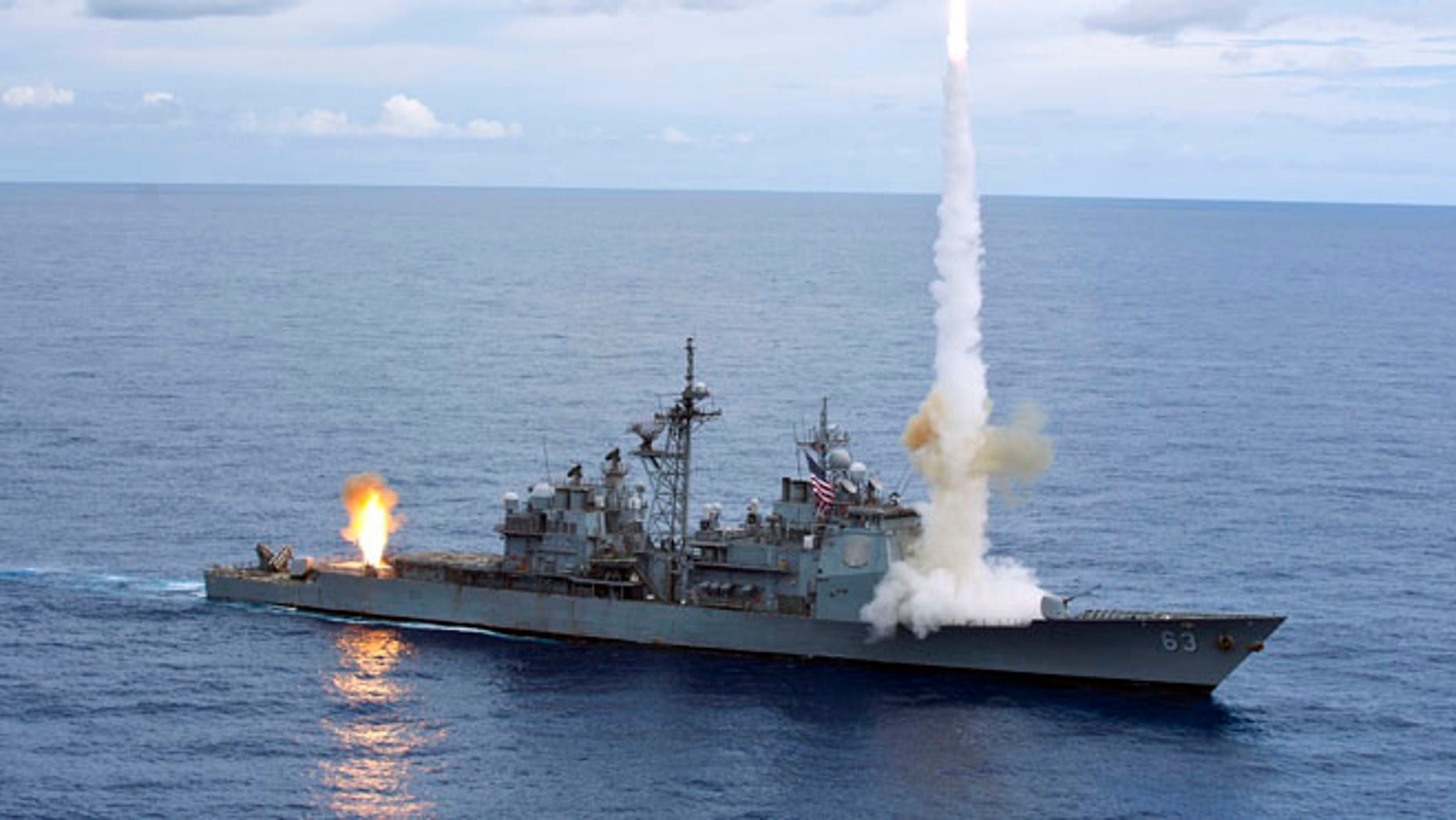 Handout photo taken September 20, 2012 and released to Reuters on September 25, 2012 of the Ticonderoga-class guided-missile cruiser USS Cowpens (CG 63) in the Pacific Ocean.