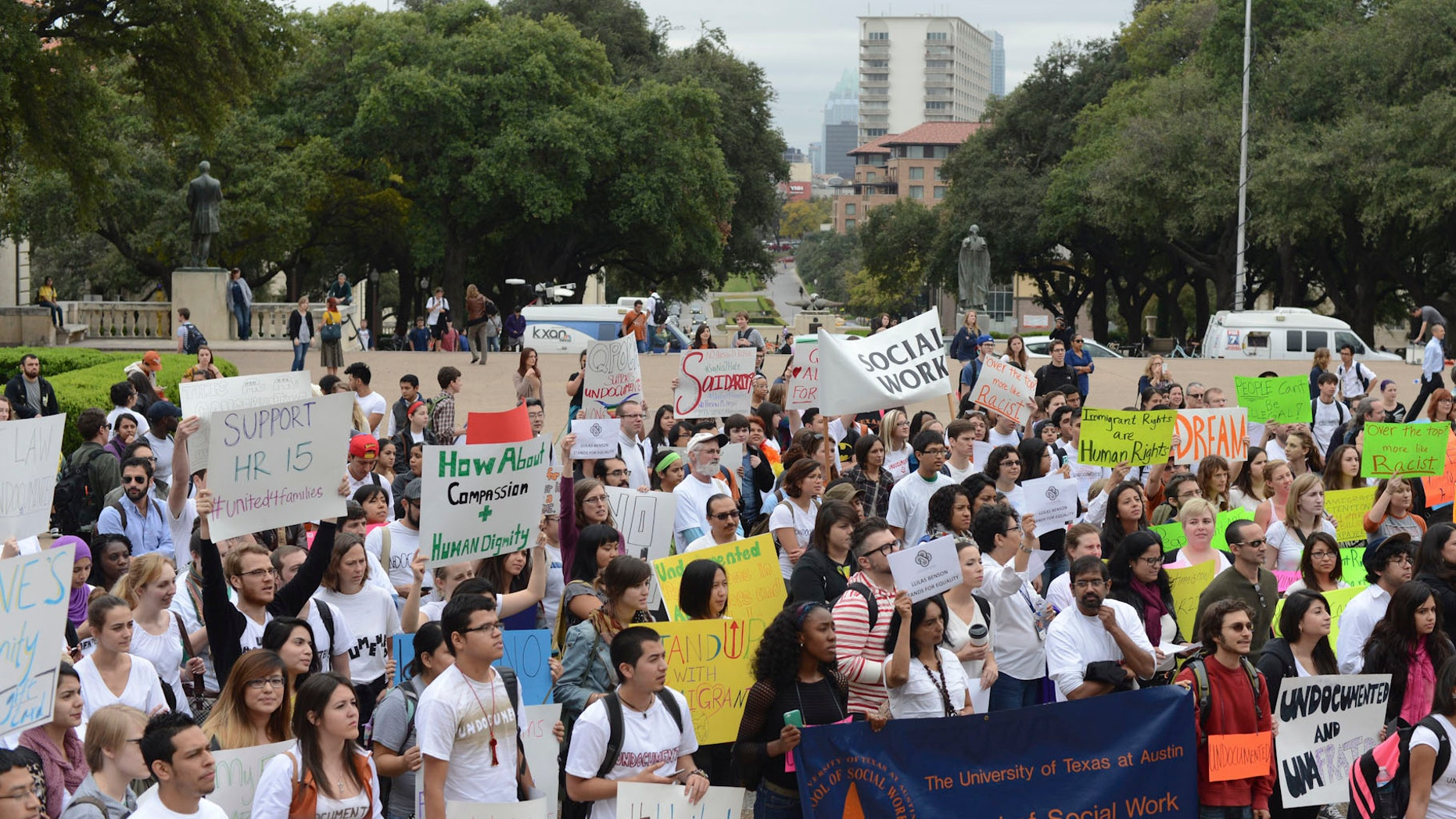Protesters at the University of Texas in Austin, Nov. 20, 2013. Miguel Gutierrez Jr./The Daily Texan.