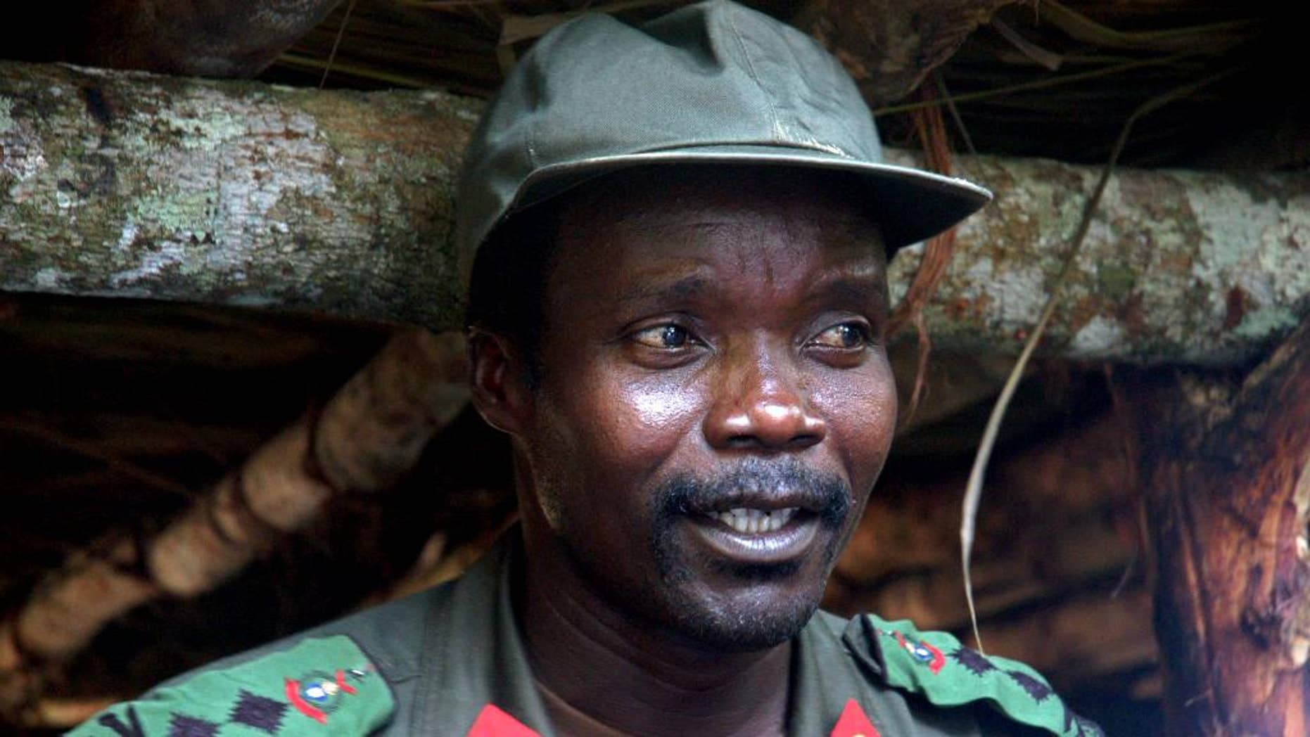 FILE - In this July 31, 2006 file photo, Joseph Kony, leader of the Lord's Resistance Army, speaks during a meeting with a delegation of 160 officials and lawmakers from northern Uganda and representatives of non-governmental organizations in Congo near the Sudan border. The fugitive leader of the Lord's Resistance Army is sickly and in retreat from an international manhunt that includes U.S. forces, a Ugandan military spokesman said Monday,citing the accounts of recent defectors who are backing up reports that the rebel group is in decline. Joseph Kony is possibly suffering from diabetes, according to defectors who surrendered to Ugandan troops last month in Central African Republic, said Lt. Col. Paddy Ankunda (AP Photo, File)