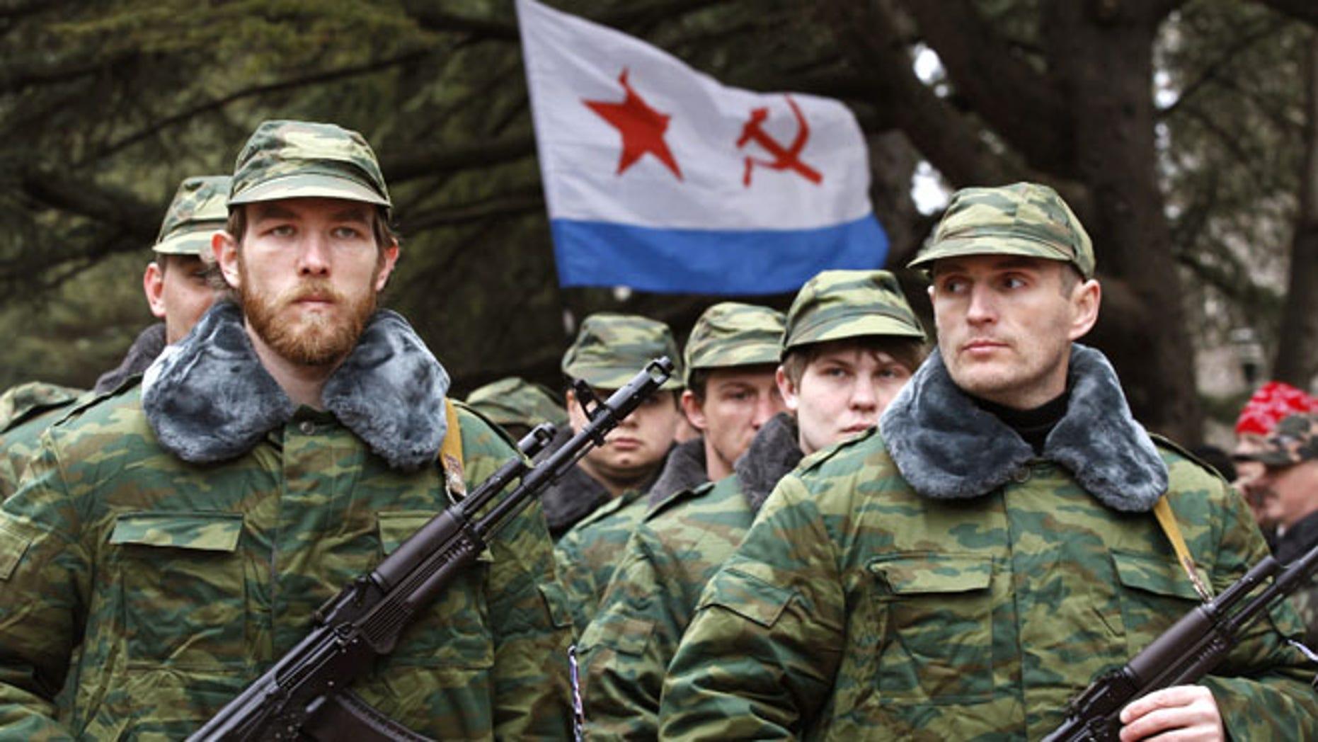March 8, 2014: Members of a pro-Russian self-defense unit in Simferopol, Ukraine.