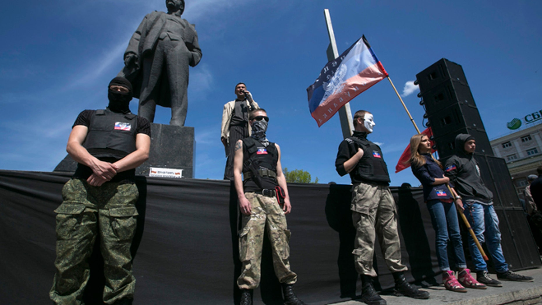 April 27, 2014: Pro-Russian activists at a rally in Donetsk, eastern Ukraine.