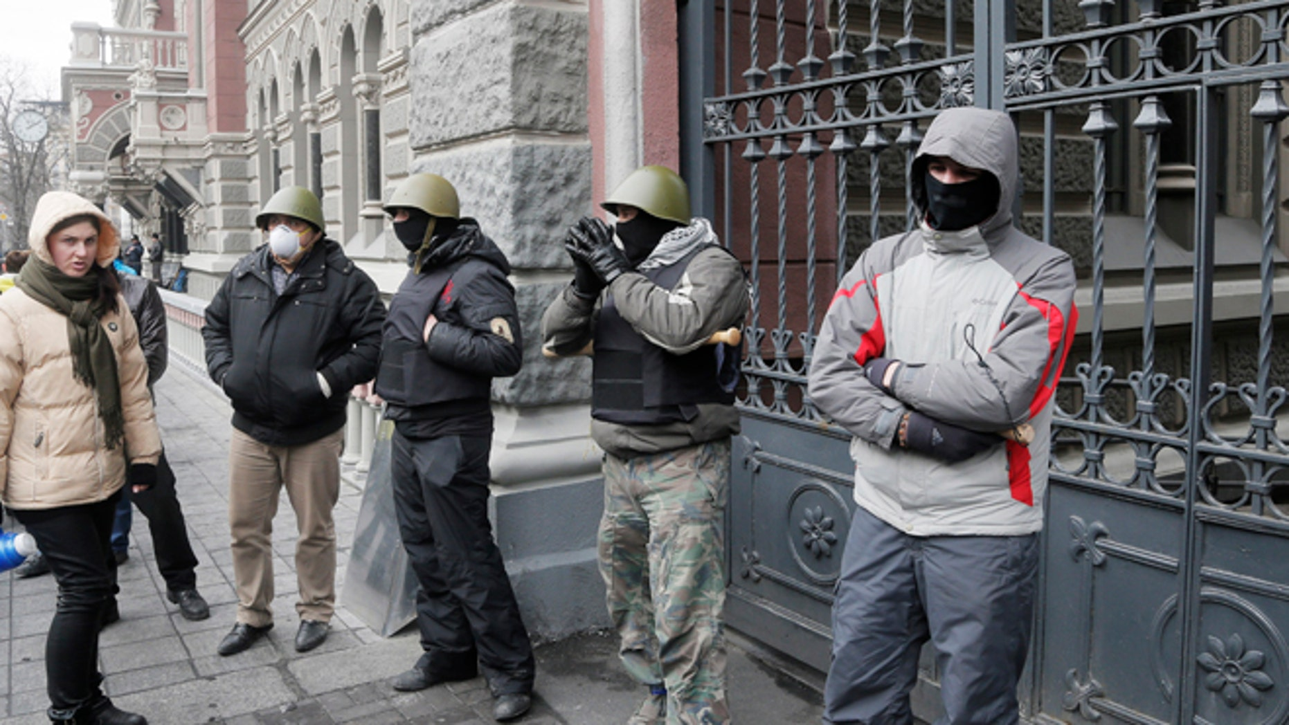Feb. 23, 2014: Activists in Independence Square, the epicenter of Ukraine's recent unrest, Ukraine.