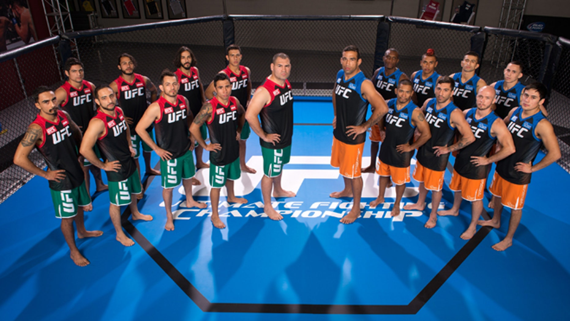 LAS VEGAS, NV - MAY 15:  Team Velasquez and Team Werdum pose for a group portrait inside the Octagon on media day during filming of The Ultimate Fighter Latin America on May 15, 2014 in Las Vegas, Nevada. (Photo by Jeff Bottari/Zuffa LLC/Zuffa LLC via Getty Images) *** Local Caption ***Cain Velasquez; Fabricio Werdum