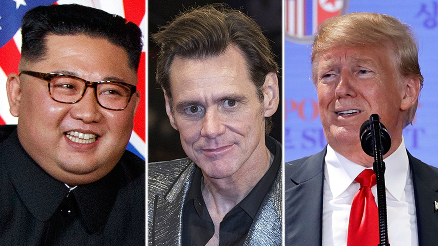 Jim Carrey, middle, posted a new caricature early Tuesday, seemingly of North Korean leader Kim Jong Un, left, and President Trump, right.