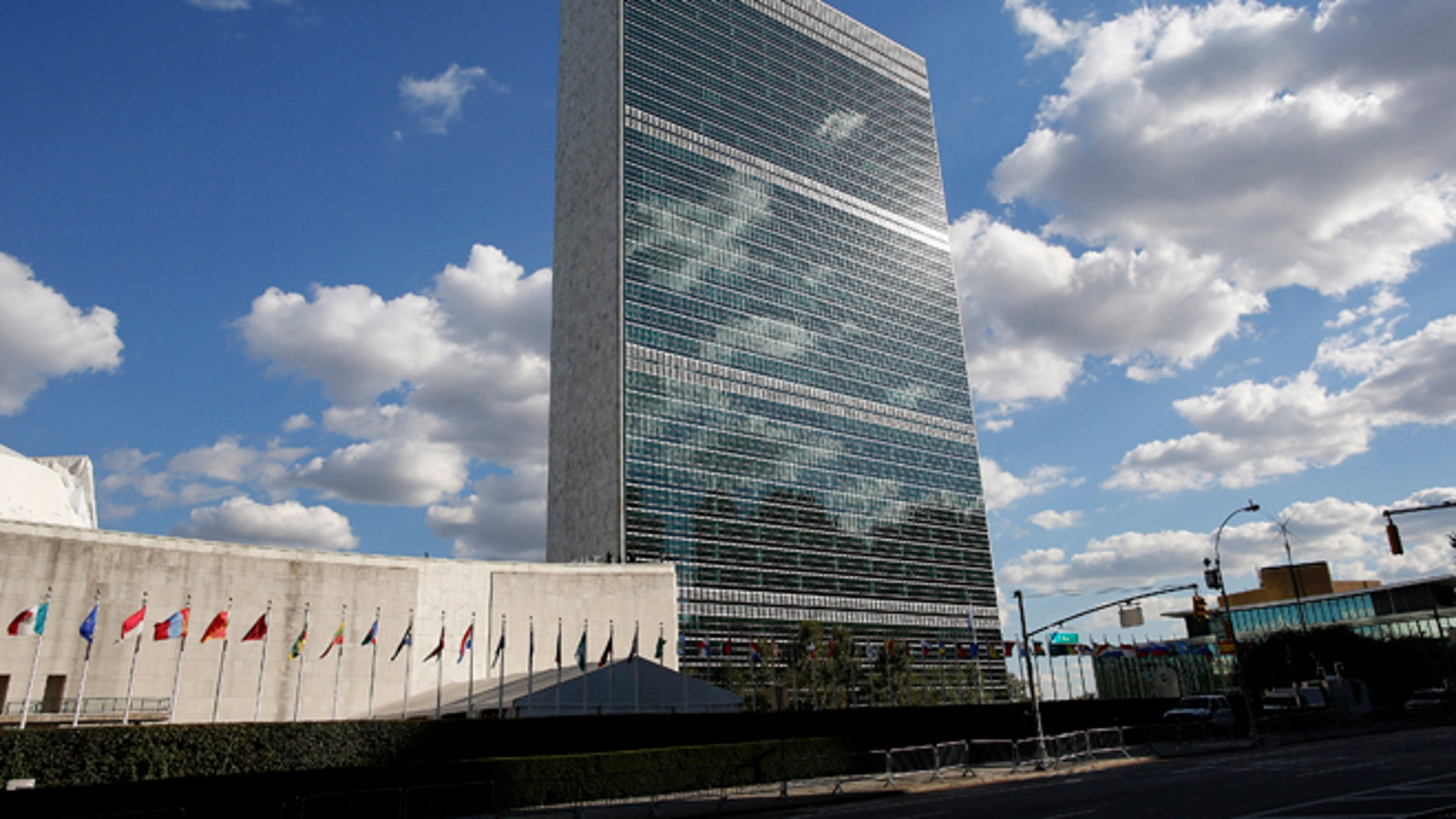 Sept. 24, 2012: Clouds are reflected off the Secretariat Building of the U.N. headquarters in New York.