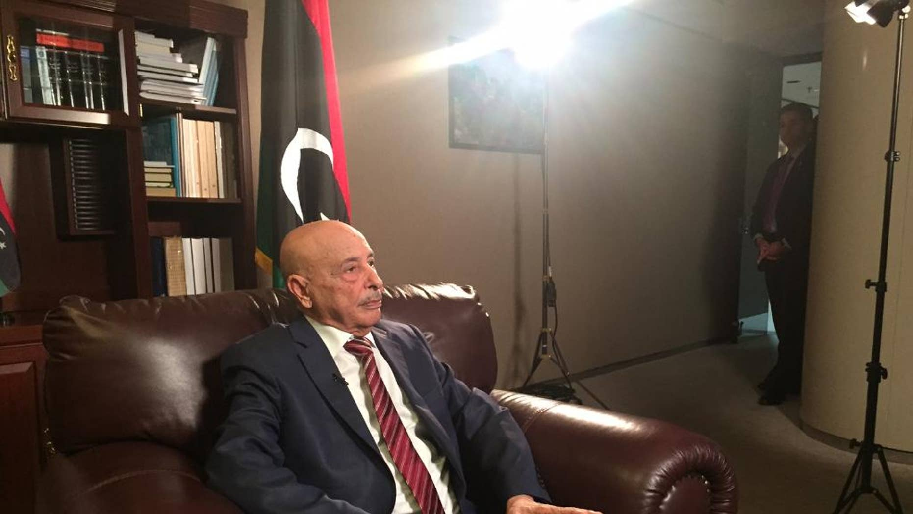 Libya's parliament speaker Ageila Saleh speaks during an interview Sunday, Sept. 27, 2015, at United Nations headquarters. (AP Photo/Cara Anna)
