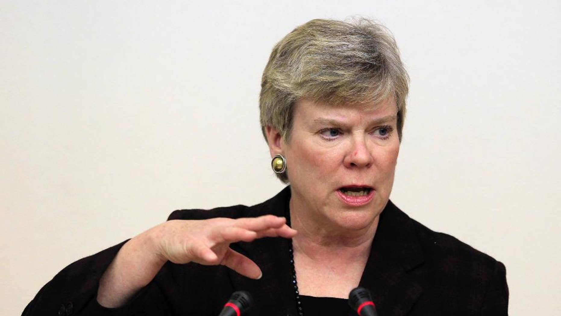 FILE- In this March 30, 2012 file photo, Rose Gottemoeller, Acting Under Secretary for Arms Control and International Security, delivers a lecture to students in Moscow. Gottemoeller spoke for the U.S. delegation Friday, May 22, 2015, in blocking the final conference document during a landmark nuclear treaty review conference at the United Nations. (AP Photo/Sergey Ponomarev, File)