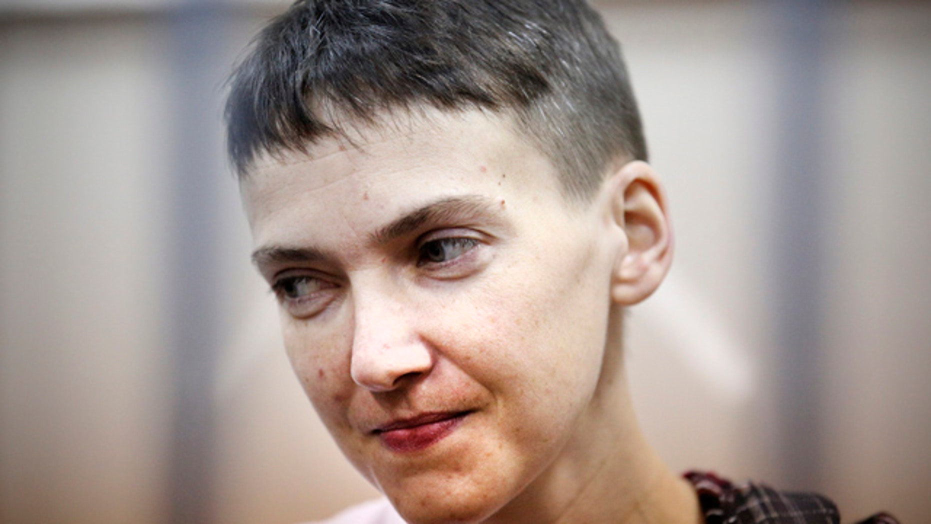 FILE - In this March 26, 2015, file photo, Ukrainian jailed military officer Nadezhda Savchenko attends a court hearing in Moscow. (AP Photo/Maxim Chernavsky, File)