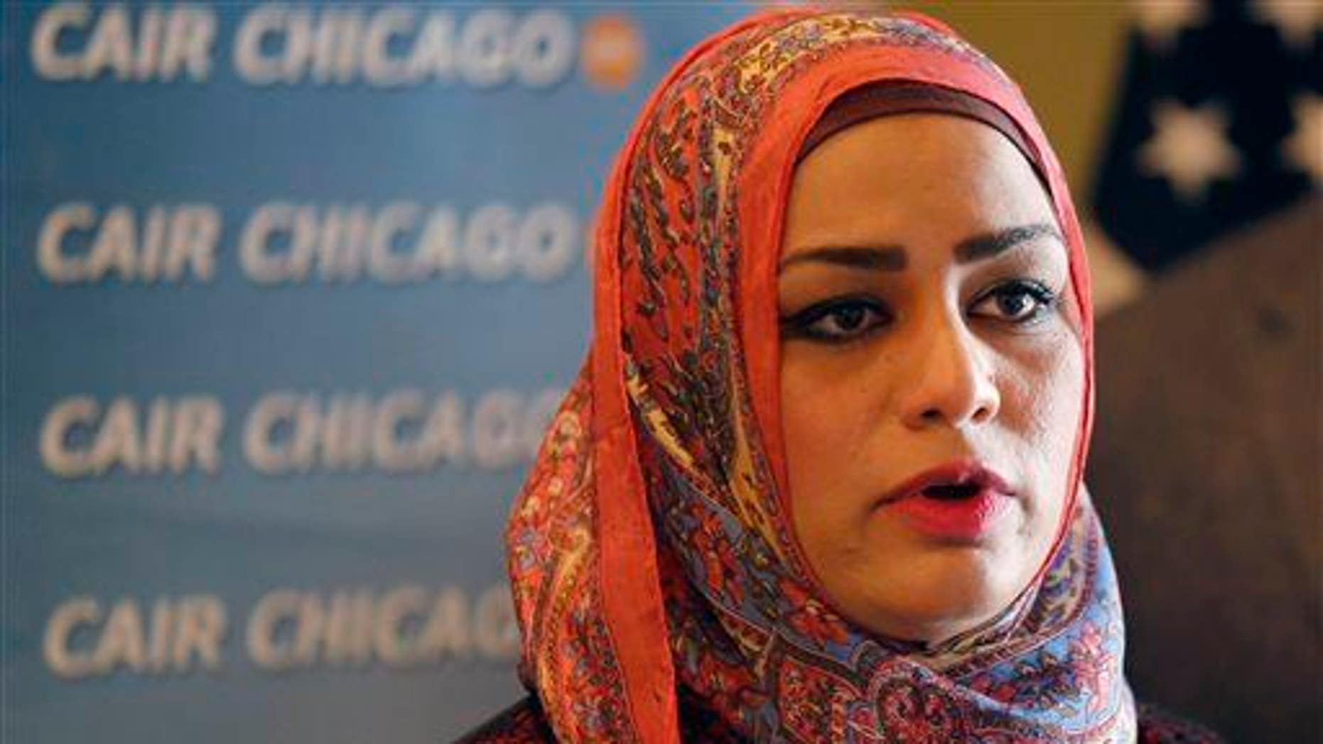 Muslim chaplain Tahera Ahmad responds to a question during a news conference Wednesday, June 3, 2015, in Chicago.