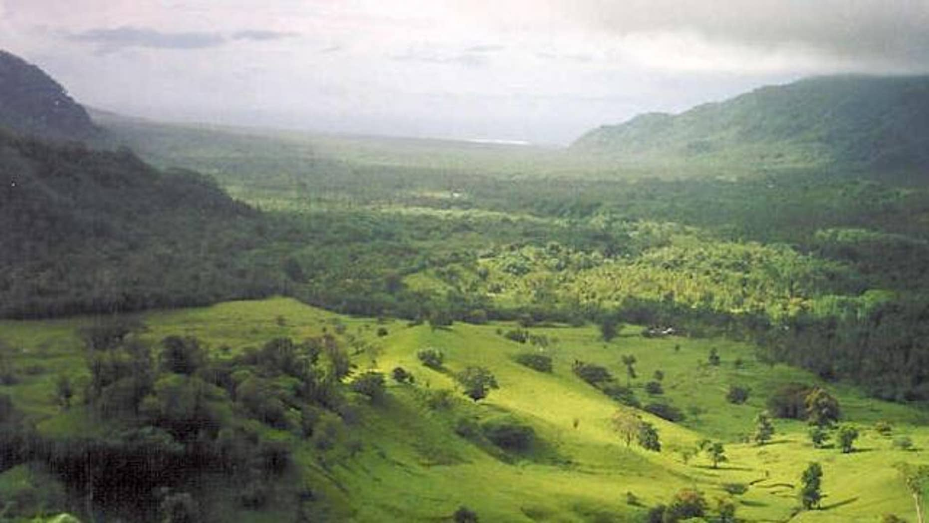 Falefa Valley, looking north at the east end of Upolu Island in Independent Samoa.