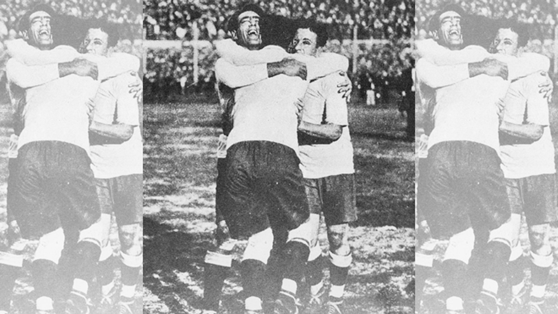 Lorenzo Fernandez, Pedro Cea and Hector Scarone of the Uruguayan national team celebrating winning the first World Cup in 1930 in Montevideo.