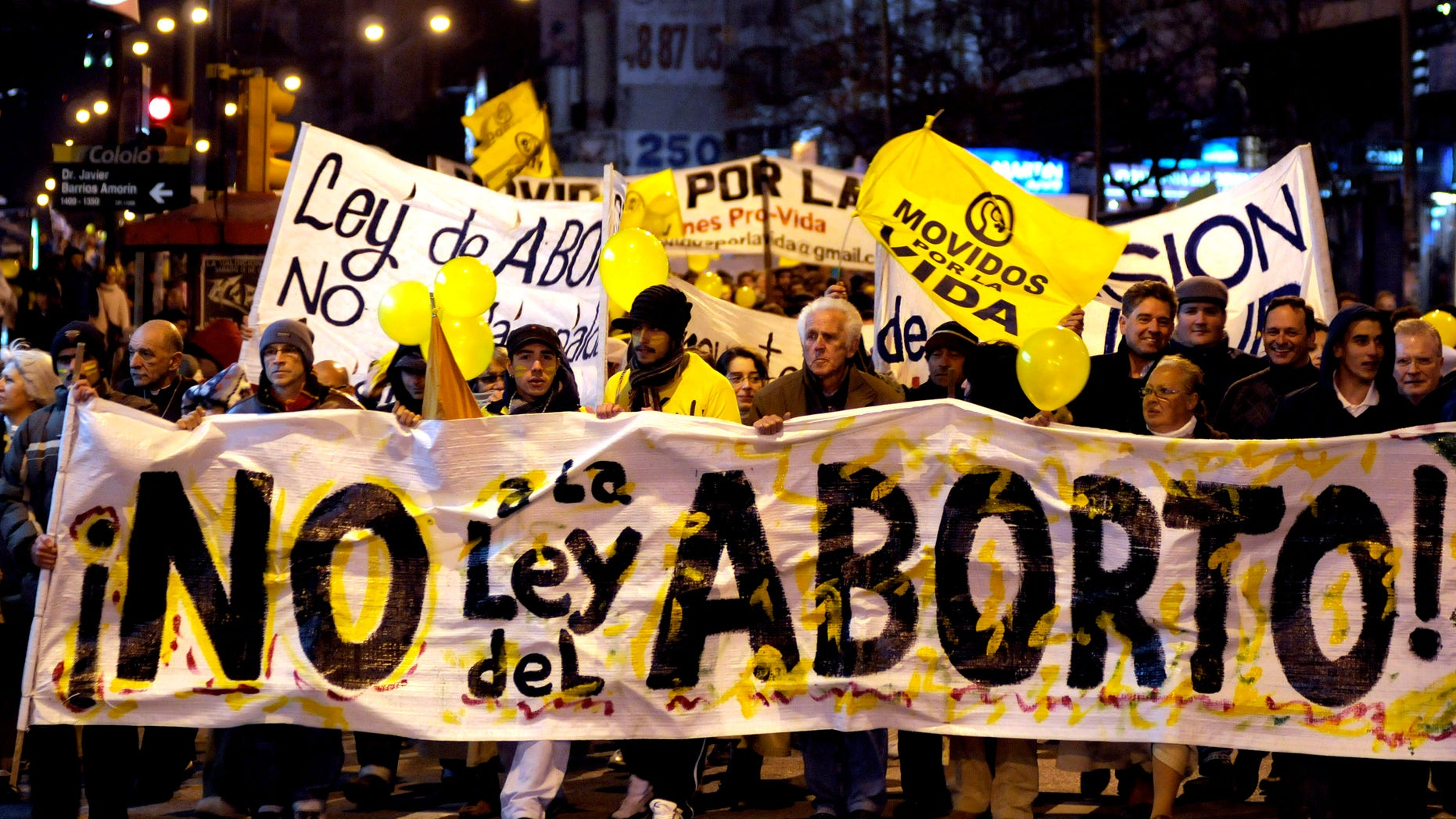 Sept. 24, 2012: People demonstrate against abortion legalization in downtown Montevideo, Uruguay.