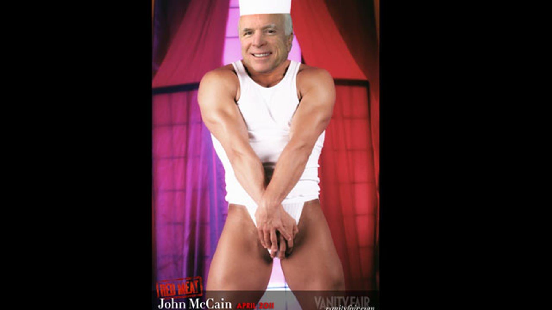 A Vanity Fair calendar features Republican Senator John McCain's head digitally added to the body of a male model.
