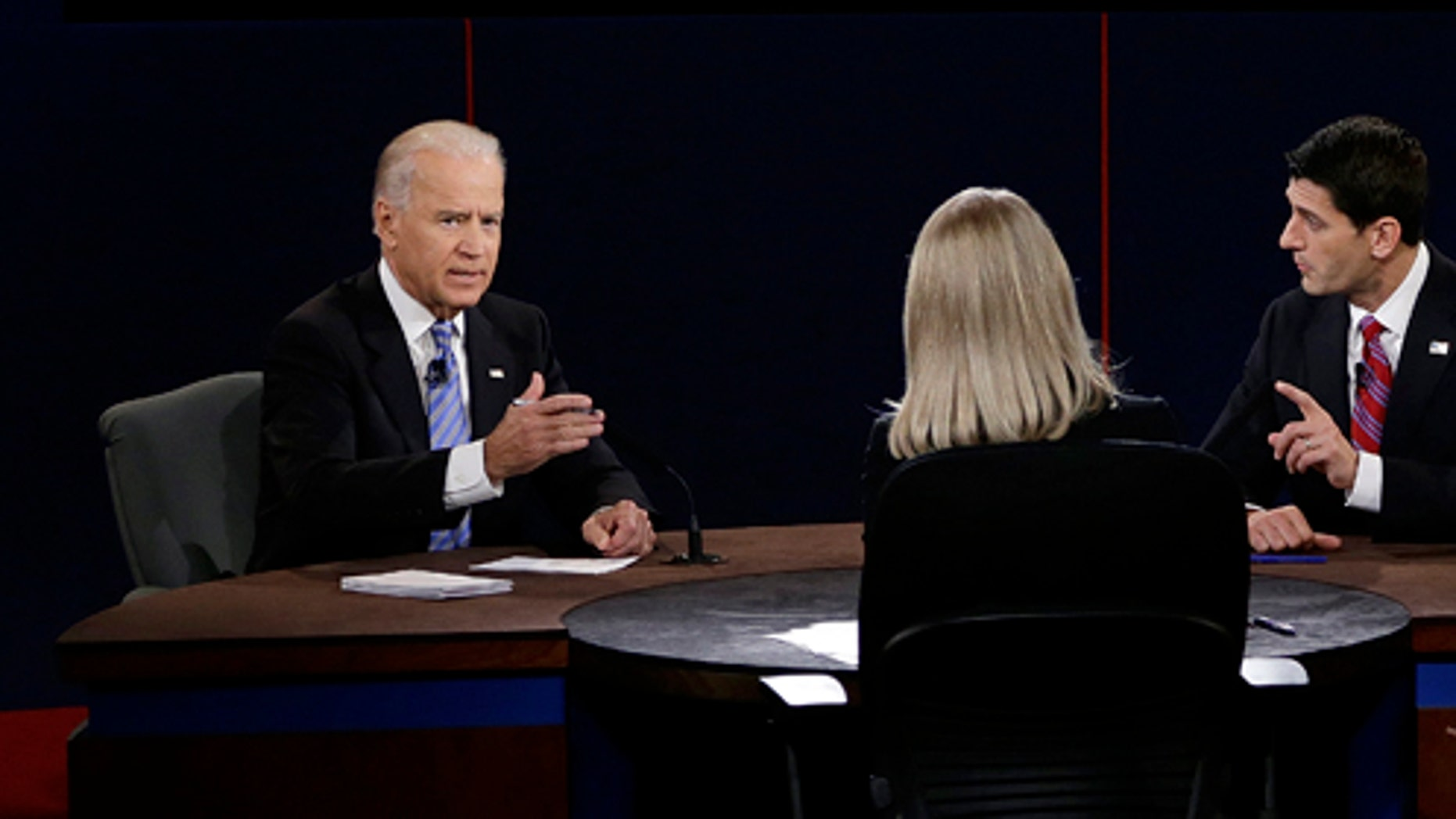 Vice President Joe Biden and Republican vice presidential nominee Rep. Paul Ryan of Wisconsin participate in during the vice presidential debate at Centre College, Thursday, Oct. 11, 2012, in Danville, Ky. (AP Photo/Charlie Neibergall)