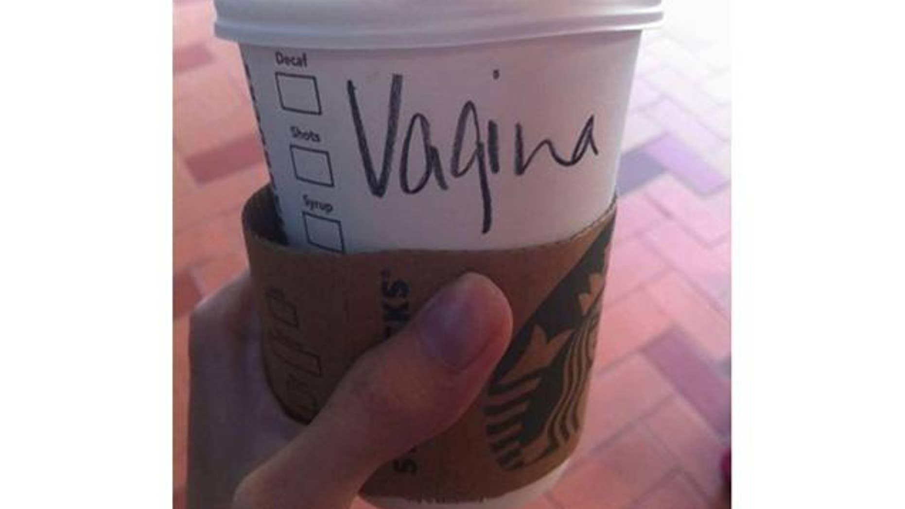 Virginia Goh's cup at a Hong Kong branch of Starbucks.