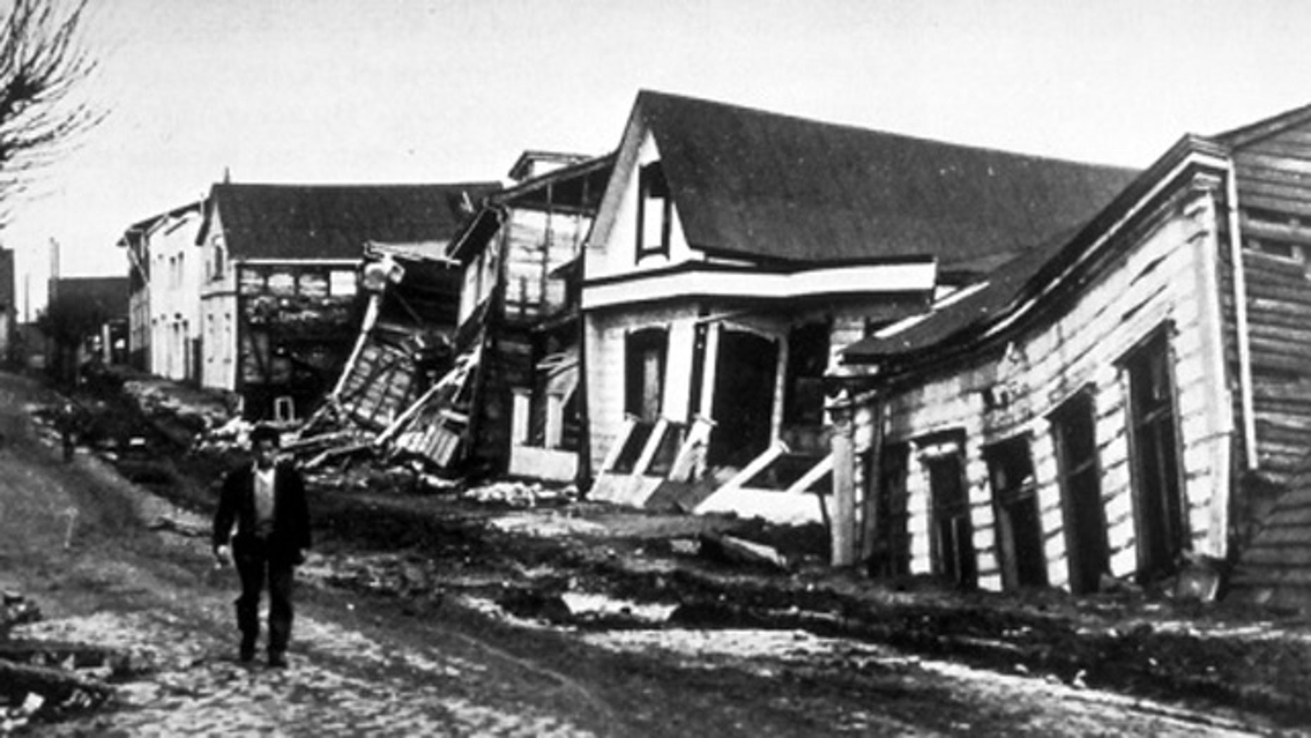 Street scene from Valdivia, Chile, after the 1960 magnitude-9.5 earthquake -- the largest ever recorded.