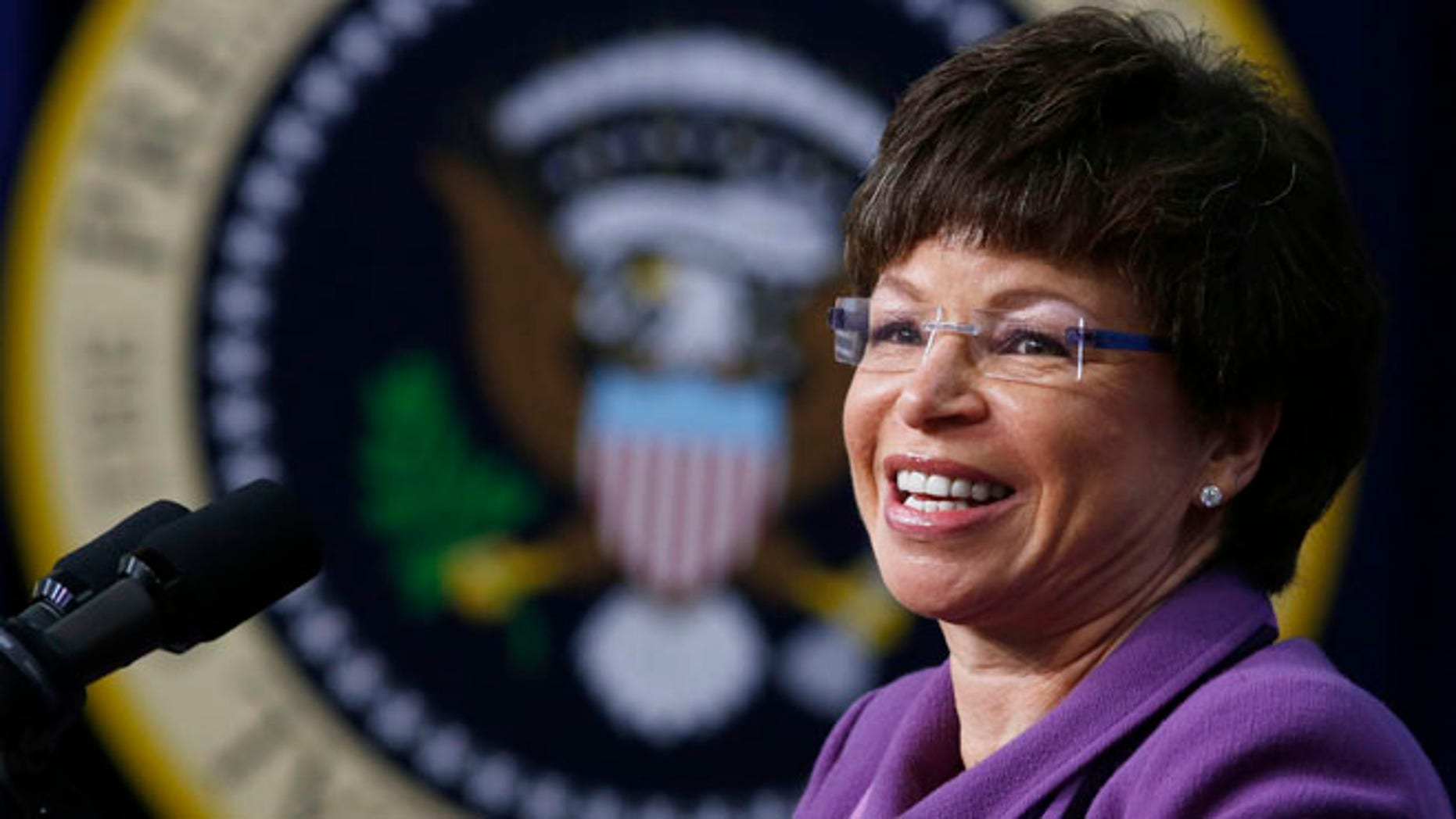 White House Senior Advisor Valerie Jarrett inside the Eisenhower Executive Office Building on the White House complex in Washington, January 16, 2014.