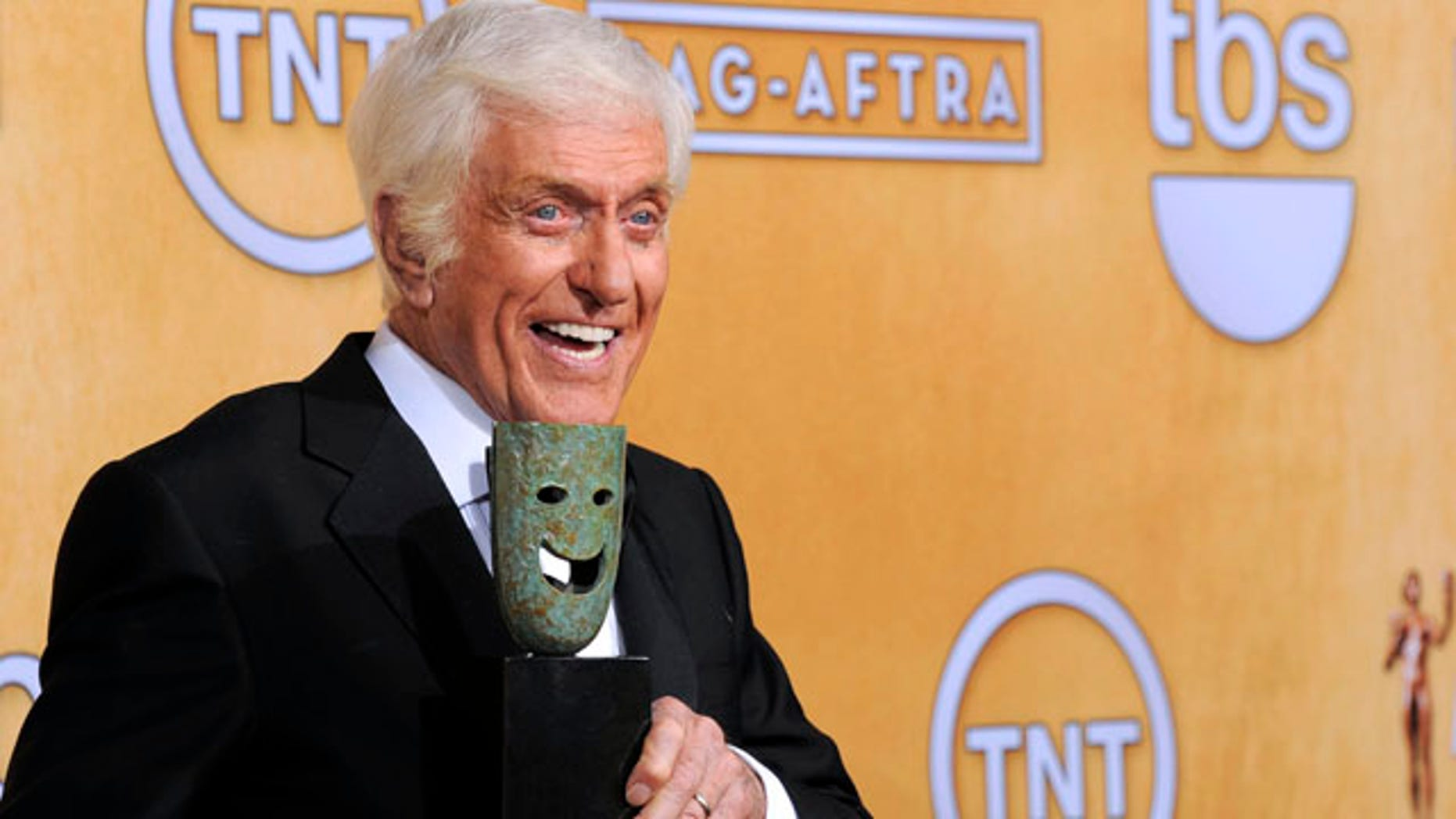 Jan. 27, 2013: Actor Dick Van Dyke poses backstage with his life achievement award at the 19th Annual Screen Actors Guild Awards.