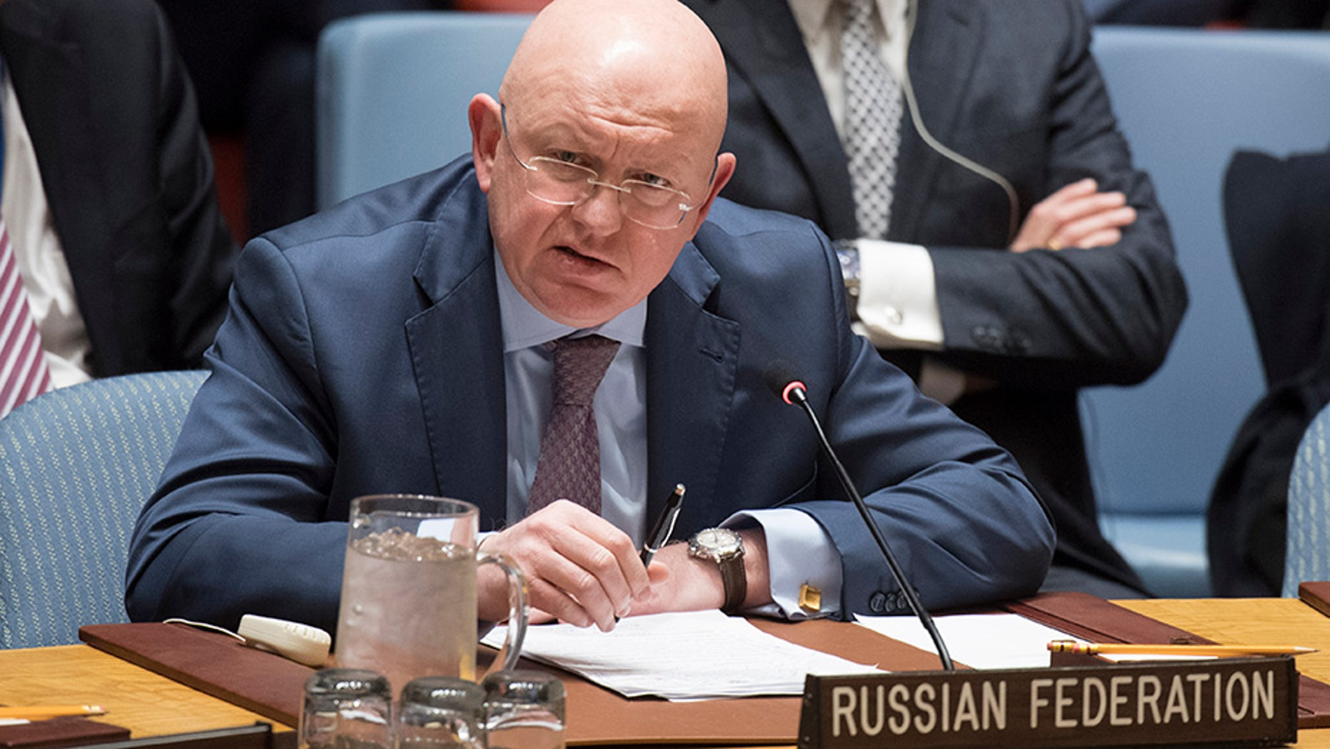 Russian ambassador to the UN, Vassily Nebenzia, brought up Syria during a Security Council meeting regarding Libya.