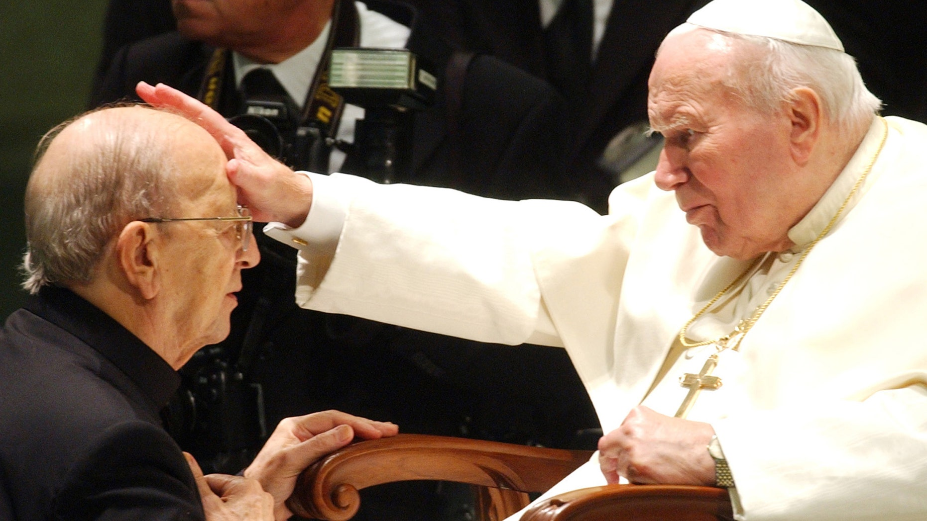 Pope John Paul II gives his blessing to late father Marcial Maciel on Nov. 30, 2004.