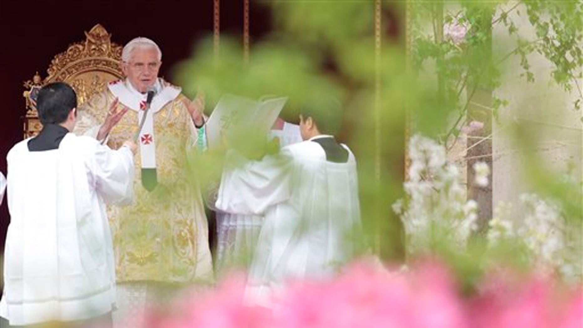 April 24: Pope Benedict XVI celebrates the Easter mass, in St. Peter's square, at the Vatican. (AP)
