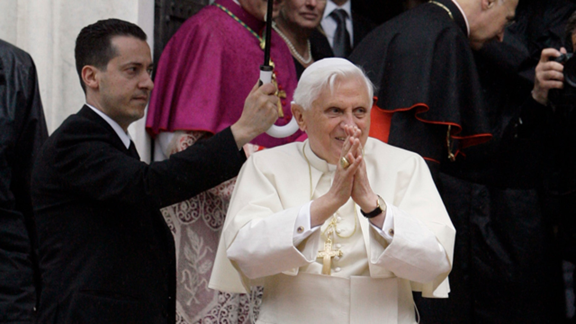 Pope Benedict XVI, shown here in 2008 photo, was the target of a terror plot, according to Italian authorities.