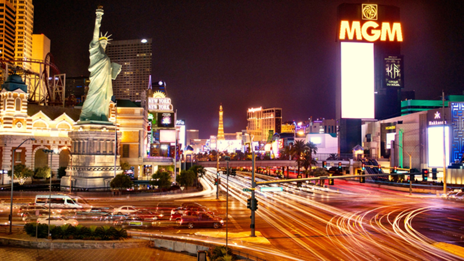 The Las Vegas strip at night.