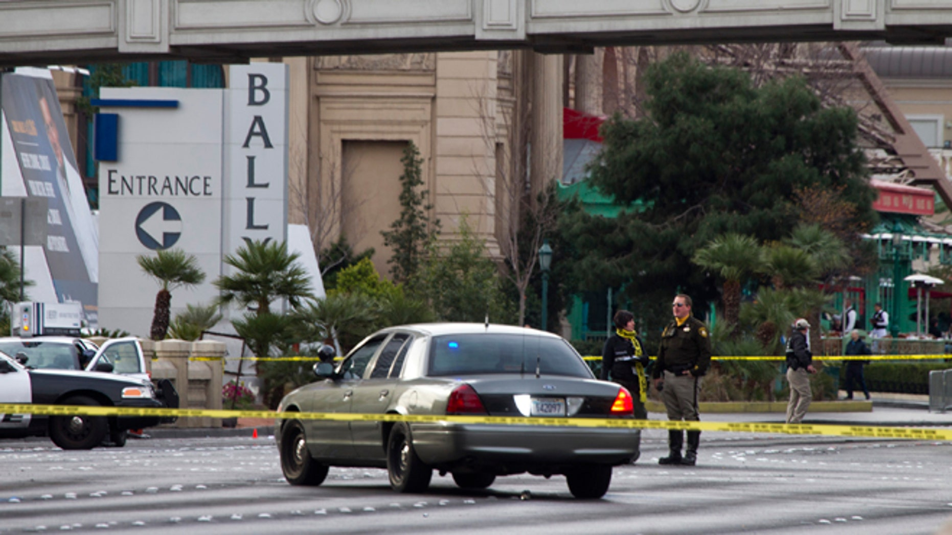 Feb. 21, 2013: Metro Police investigate a shooting and multi-car accident on the Las Vegas Strip in Las Vegas.