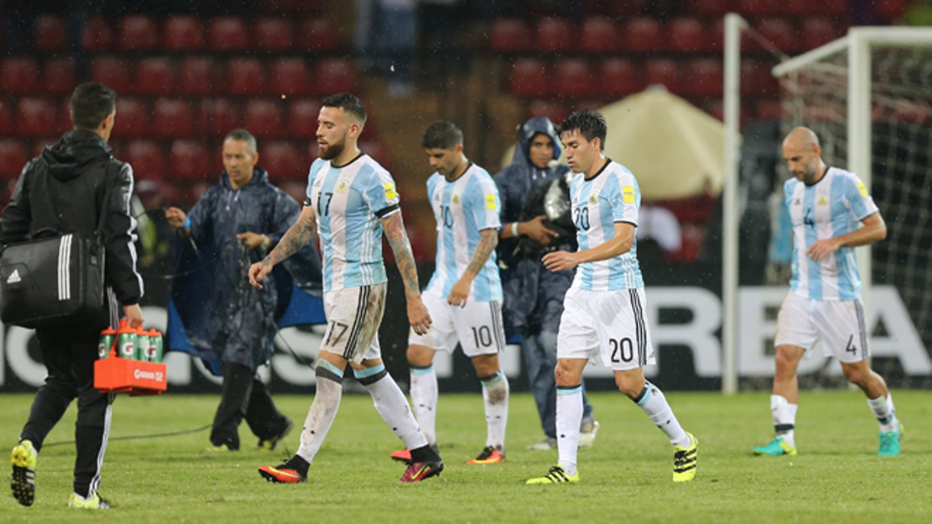 Argentina's players after a 2018 World Cup qualifying soccer match against Venezuela, Tuesday, Sept. 6, 2016.
