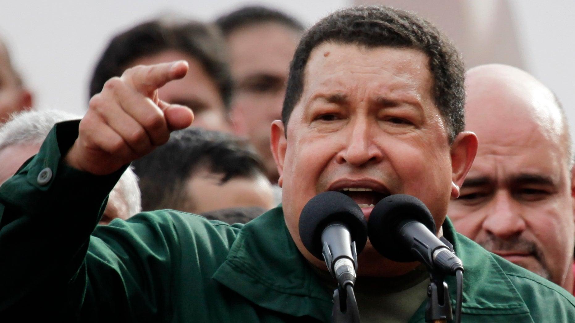 Jan. 5: Venezuela's President Hugo Chavez speaks to supporters at a square in Caracas, Venezuela.