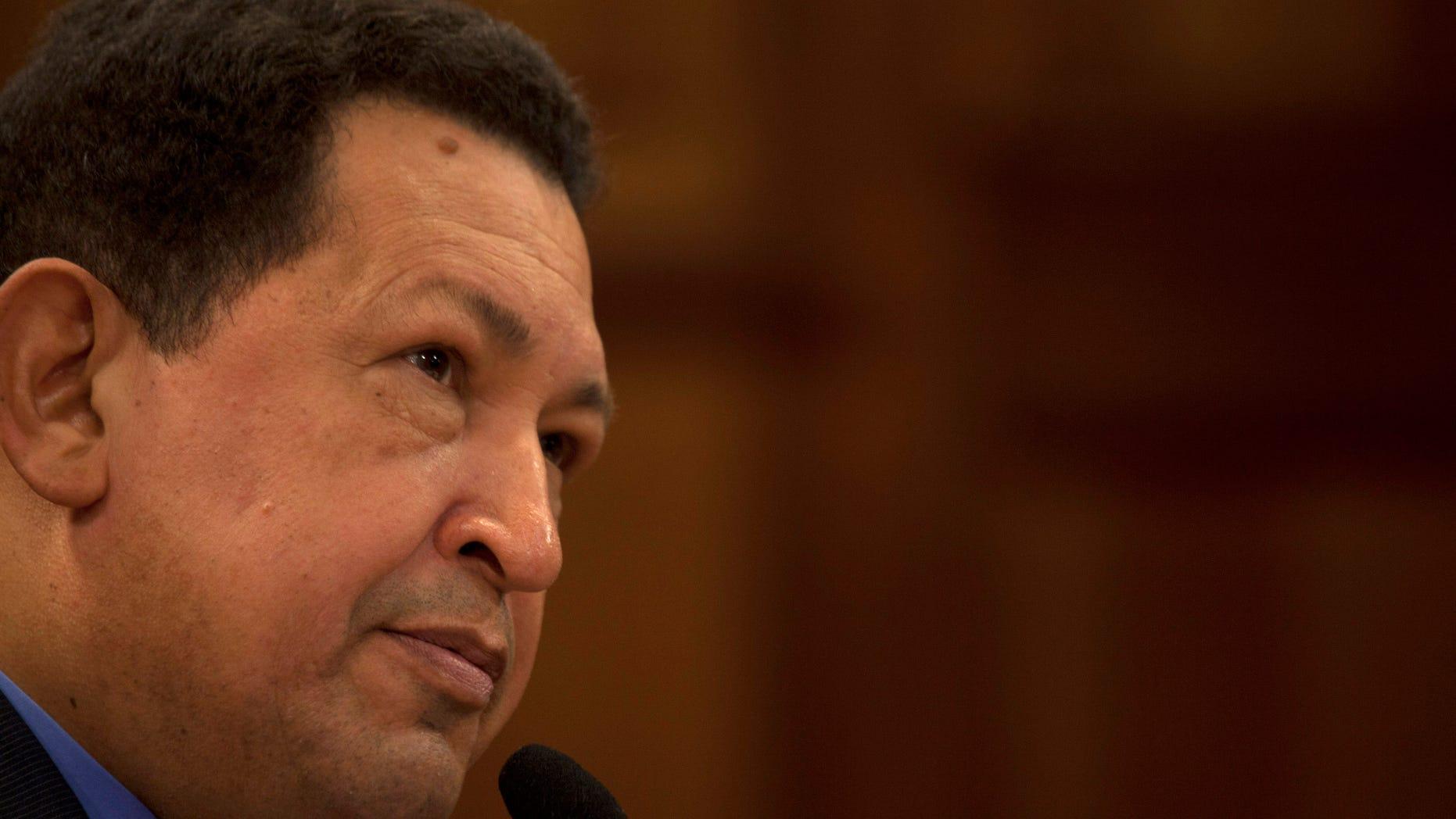 Oct. 9, 2012 FILE photo, Venezuela's President Hugo Chavez.