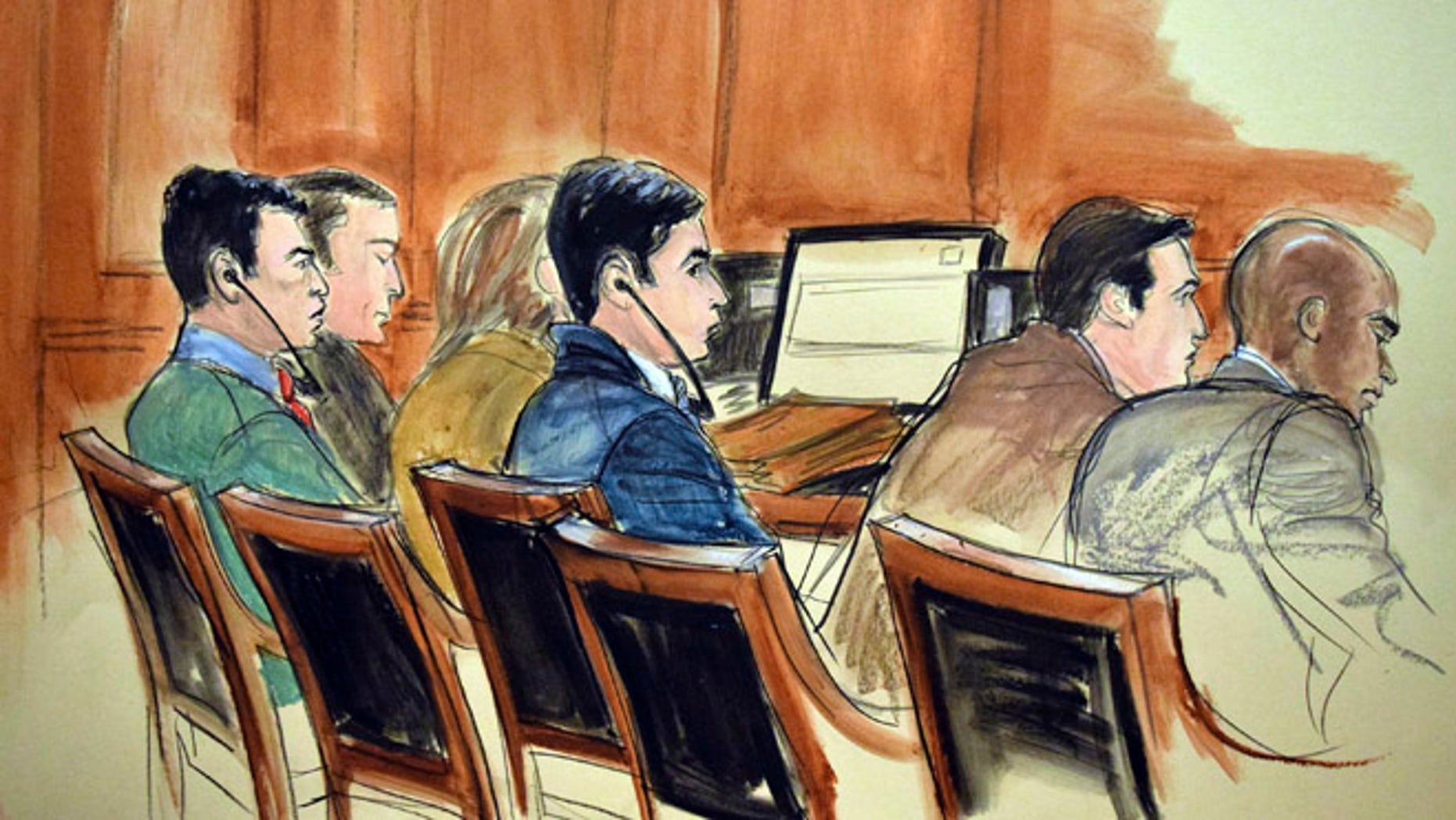 FILE - In this Nov. 14, 2016 courtroom file sketch, the drug trial of two nephews of Venezuela's first lady proceeds in New York with, from left, Francisco Flores, with earphones and Efrain Campo, with earphones. The government's star informants in the case are duplicitous liars according to defense lawyers, and prosecutors learned that while working for the DEA, the witnesses Santos-Pena and Santos-Hernandez were also hard at work smuggling drugs themselves. (AP Photo/Elizabeth Williams, File)