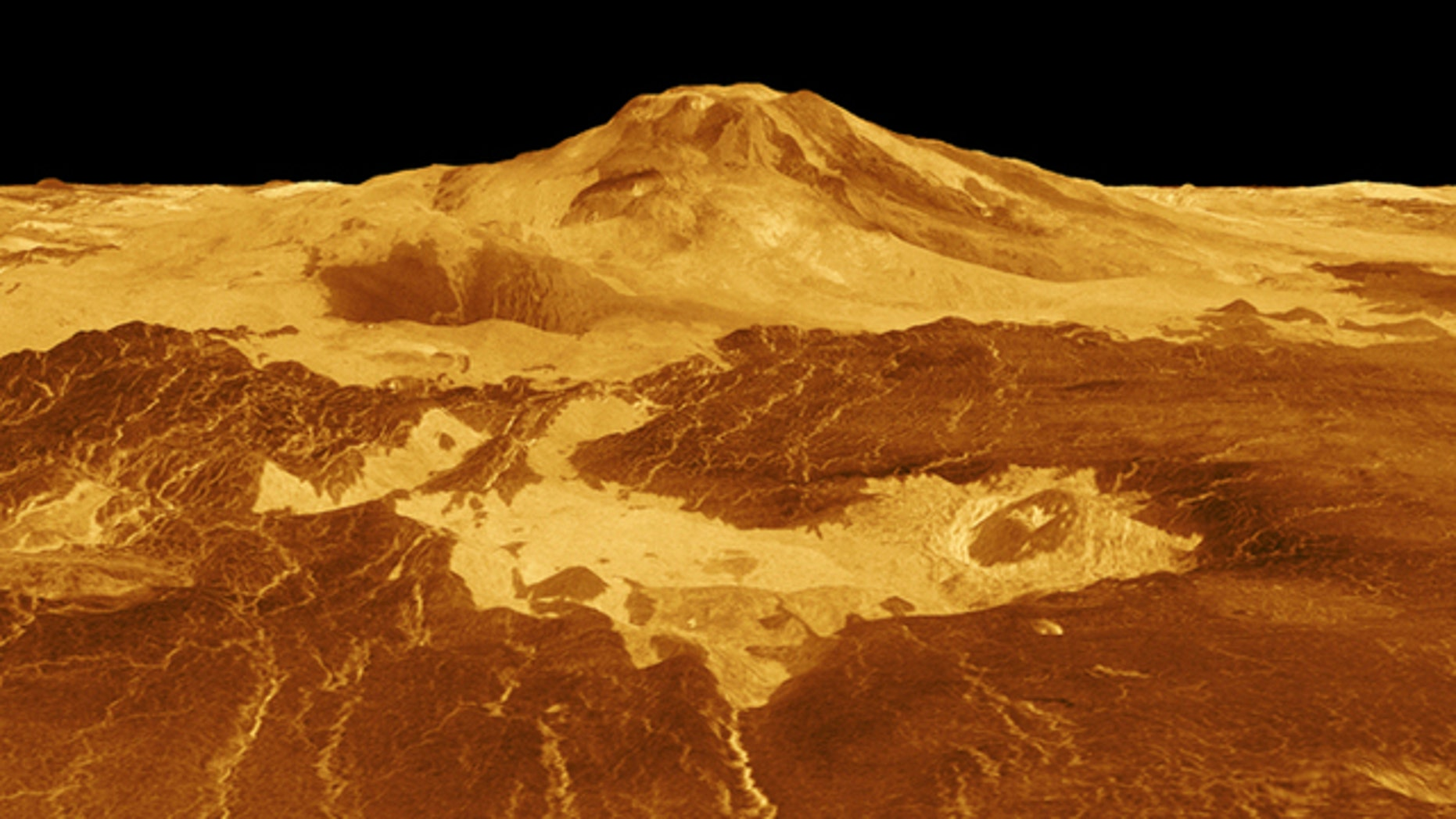 Lava flows extend for hundreds of miles across the fractured plains at the base of volcano Maat Mons, seen in this computer generated three-dimensional perspective of the surface of Venus.