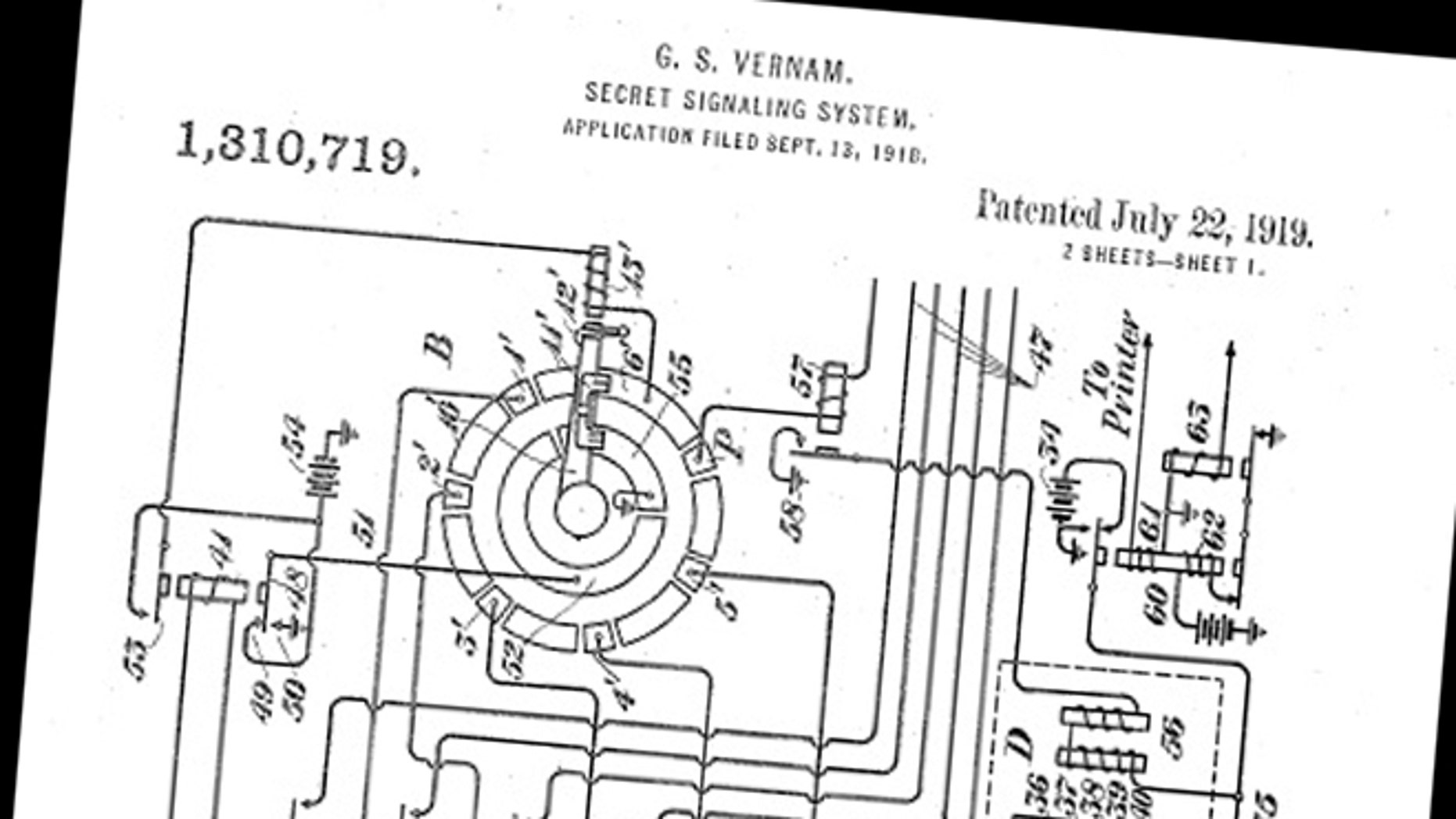 A photo from the patent application for Gilbert Vernam's original teletype encryption machine.