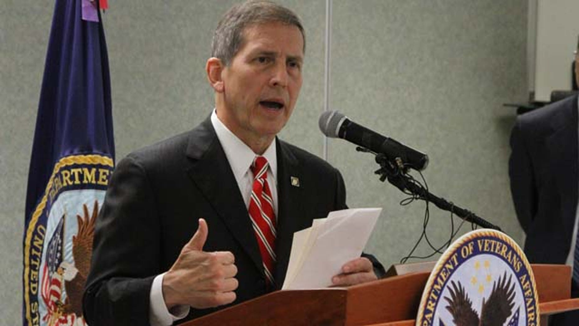 July 18, 2014: Veterans Affairs Acting Secretary Sloan Gibson speaks during a press conference at the local VA facility in El Paso, Texas. (AP Photo/Juan Carlos Llorca)