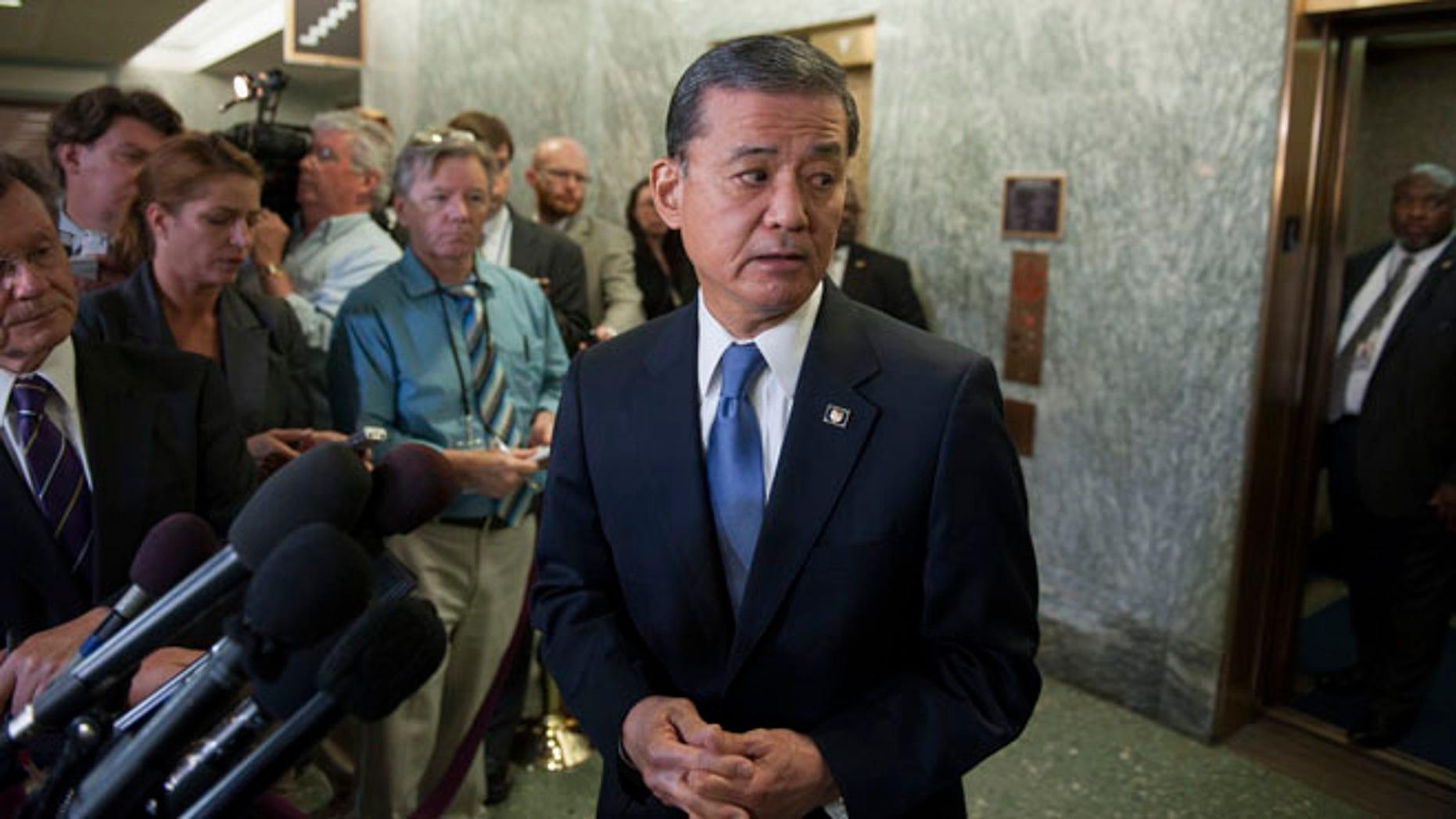 Veterans Affairs Secretary Eric Shinseki on Capitol Hill in Washington, Thursday, May 15, 2014.