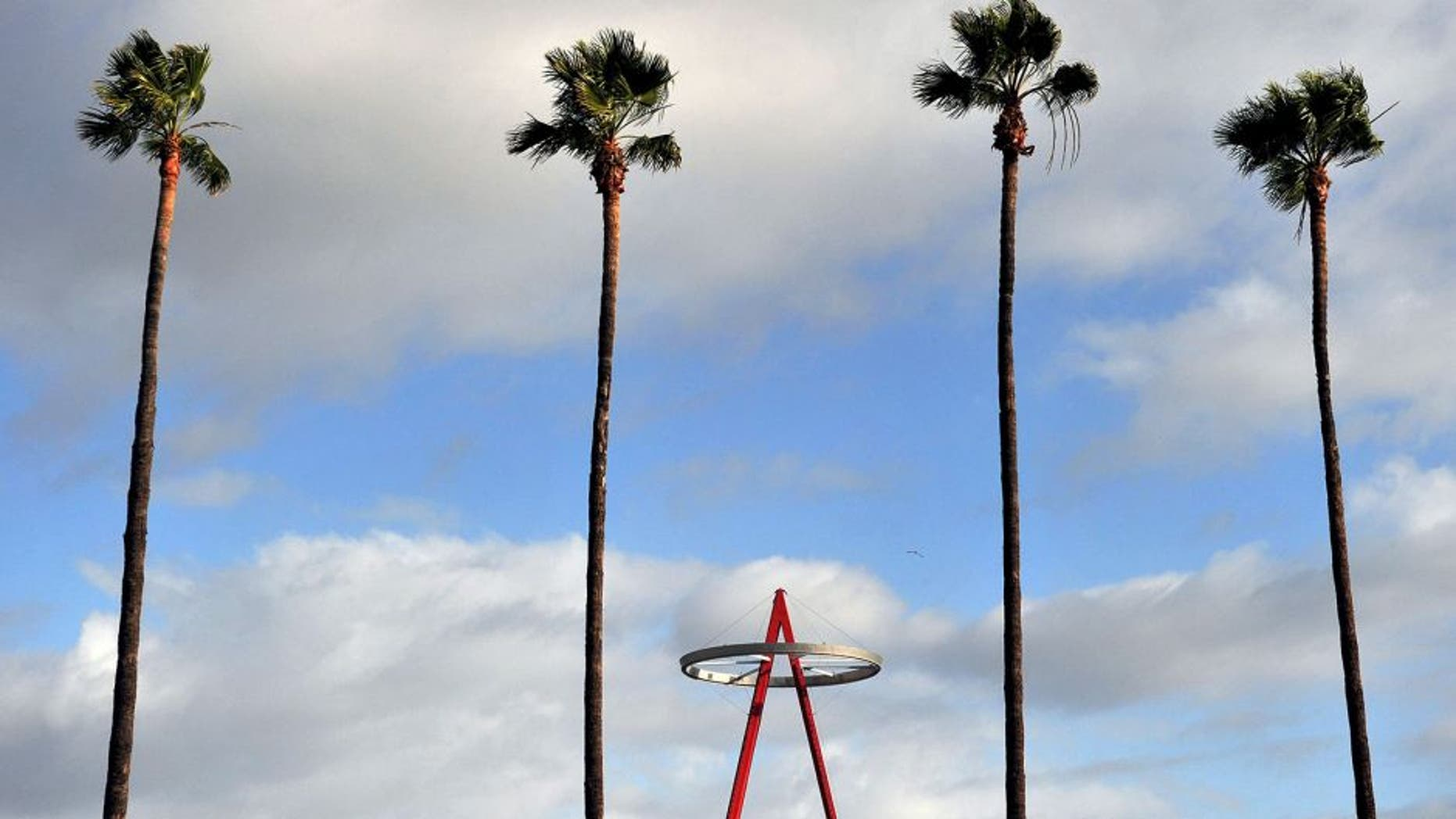 May 7, 2015; Anaheim, CA, USA; View of the Los Angeles Angels halo outside the stadium before the game against the Houston Astros at Angel Stadium of Anaheim. Mandatory Credit: Gary A. Vasquez-USA TODAY Sports
